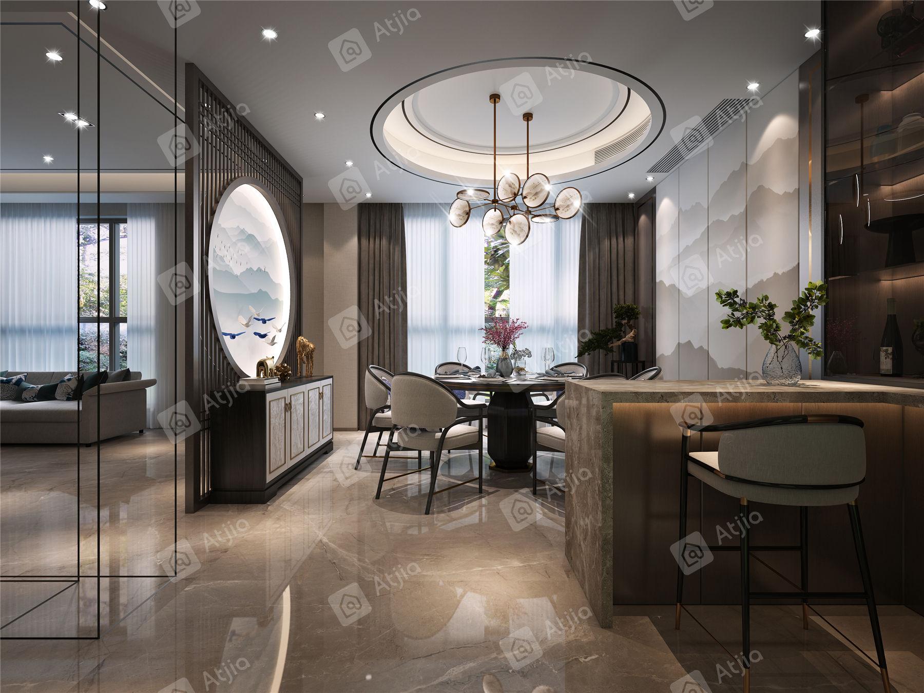 万濠瑜园 新中式装修餐厅效果图