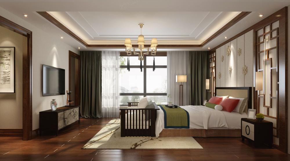 汤臣湖庭 中式装修卧室效果图