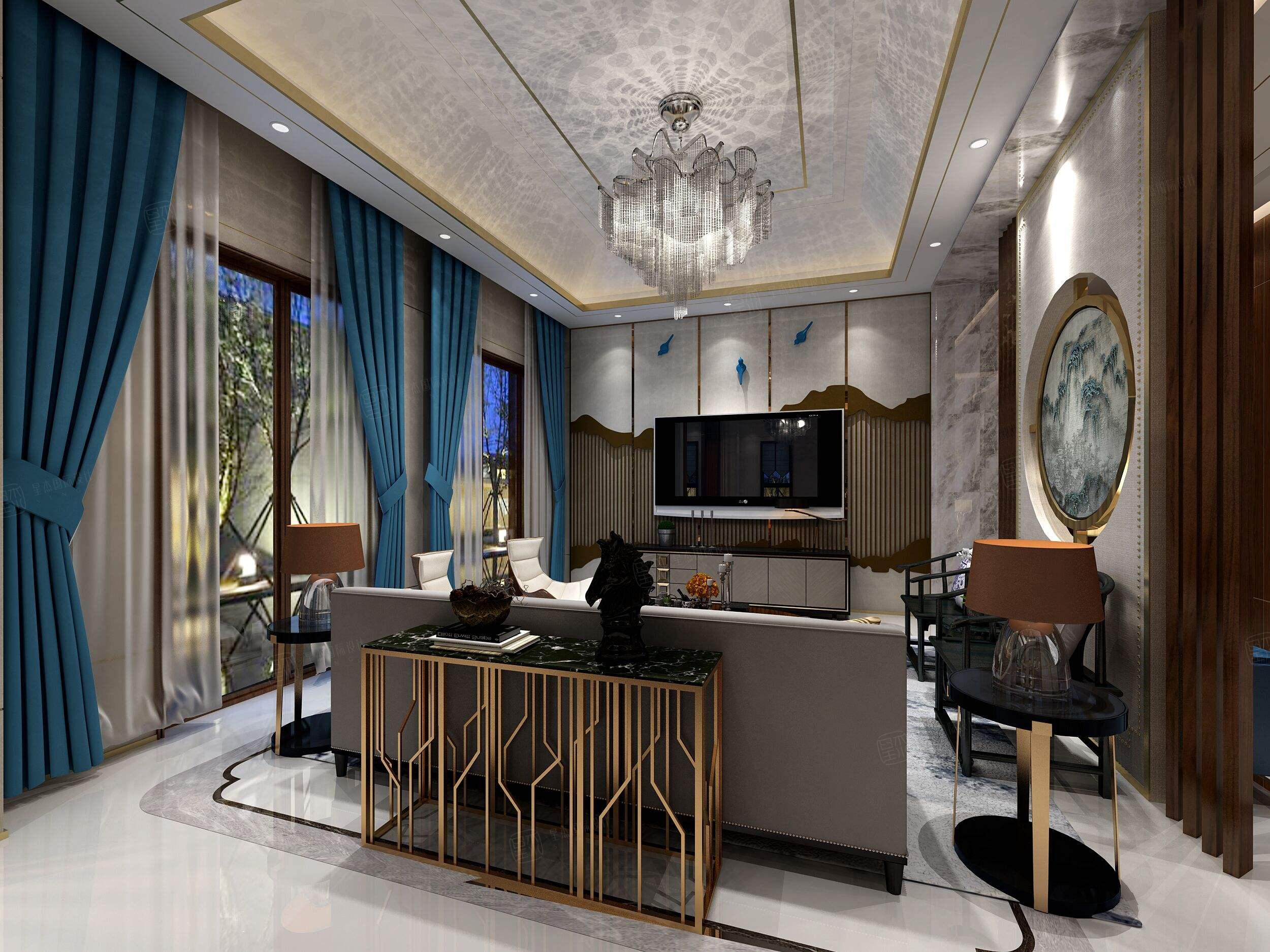 中星红庐 新中式装修客厅效果图