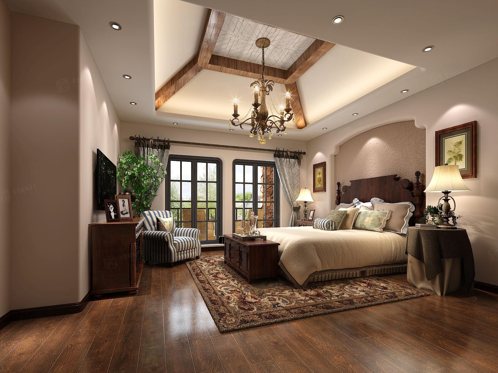 圣塔路斯 美式装修卧室效果图