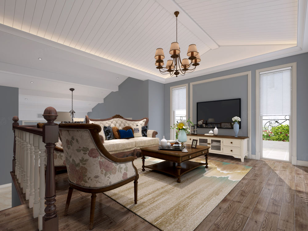 太湖之星_质朴典雅的气氛装修客厅效果图
