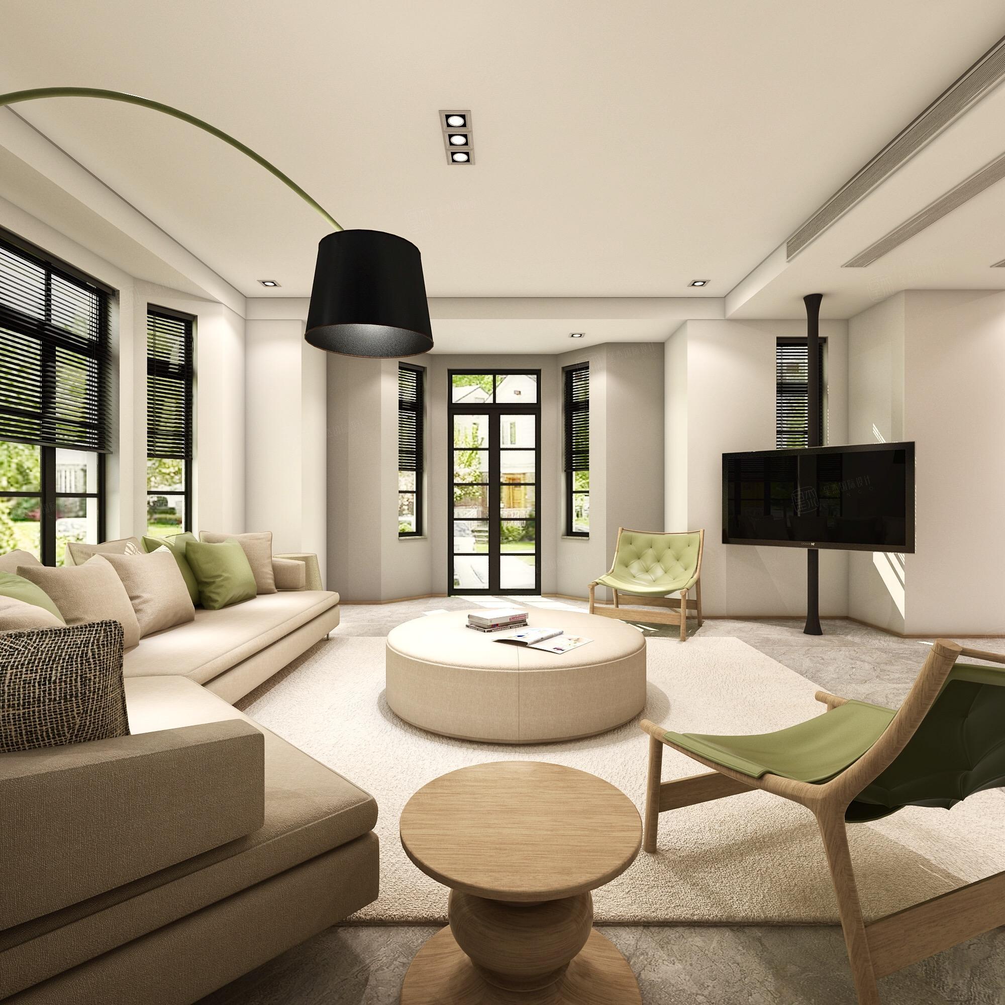 中金海棠湾 韩式现代简约装修客厅效果图