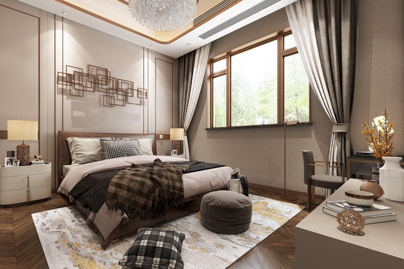 北上海 港式轻奢装修卧室效果图