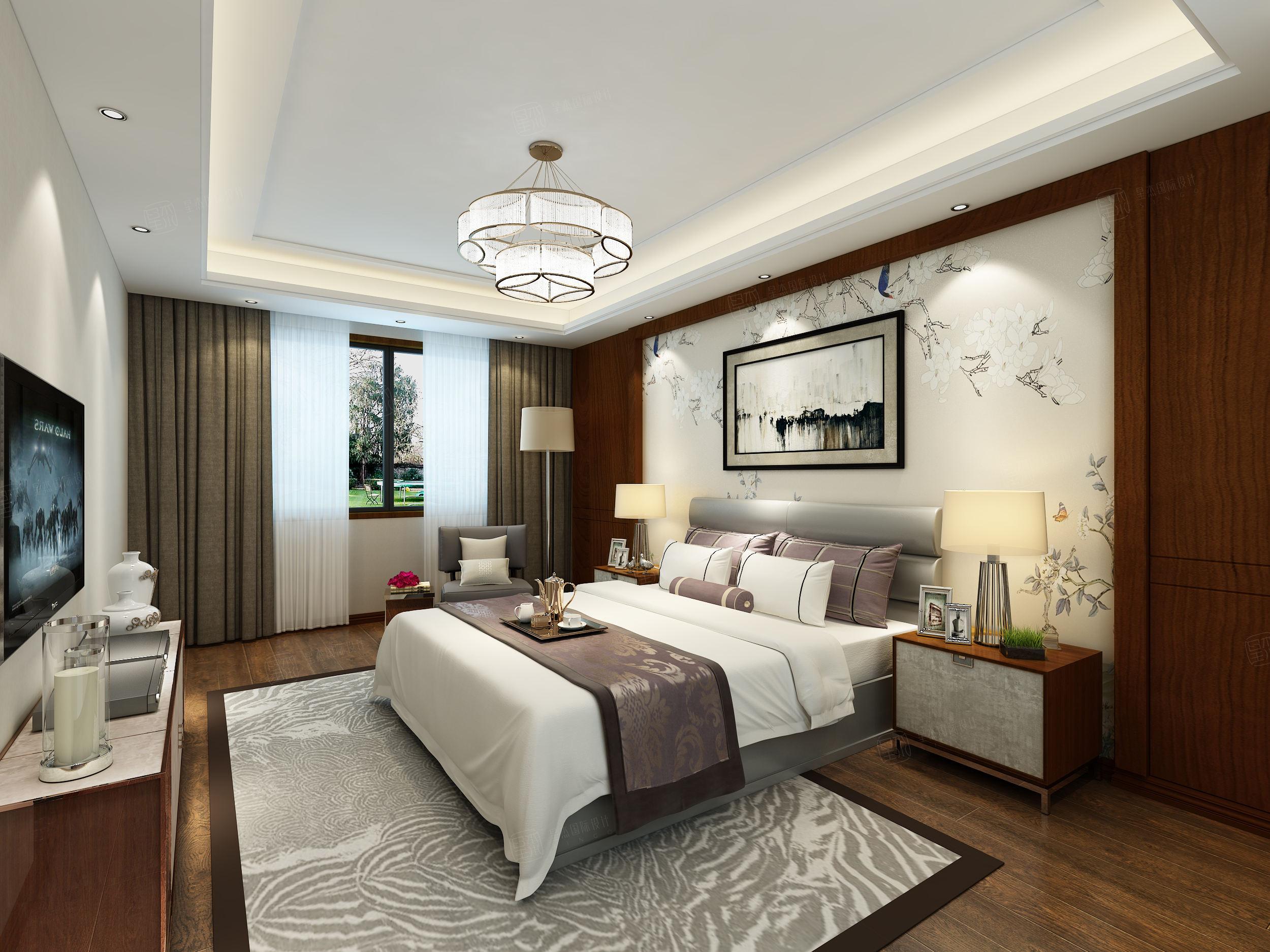 北京私人别墅 新中式装修卧室效果图
