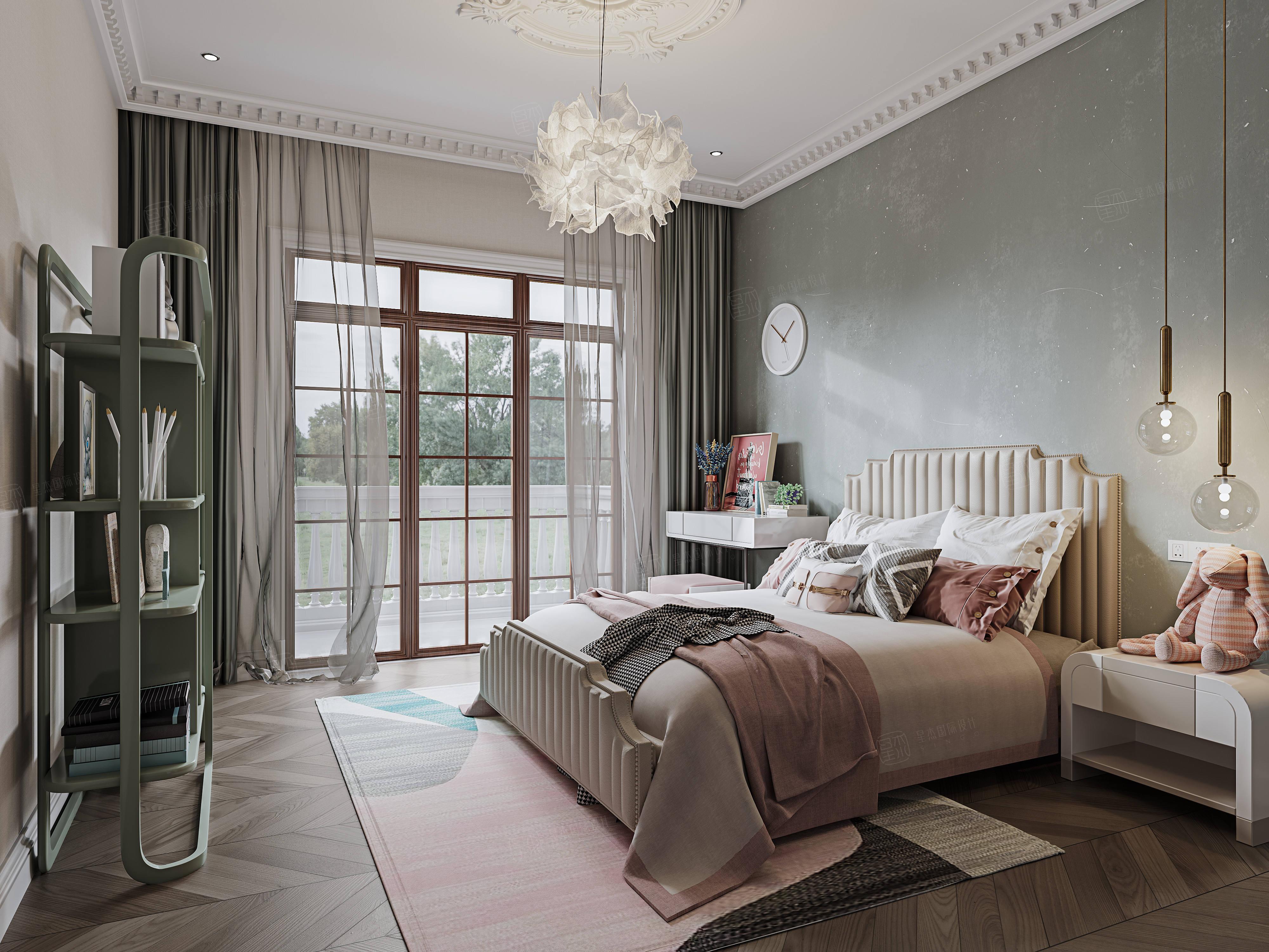 北上海至尊  法式轻奢装修卧室效果图