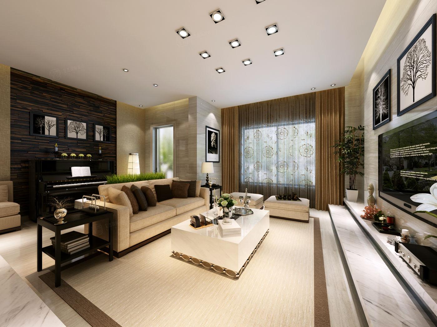 莫奈庄园 现代简约装修客厅效果图