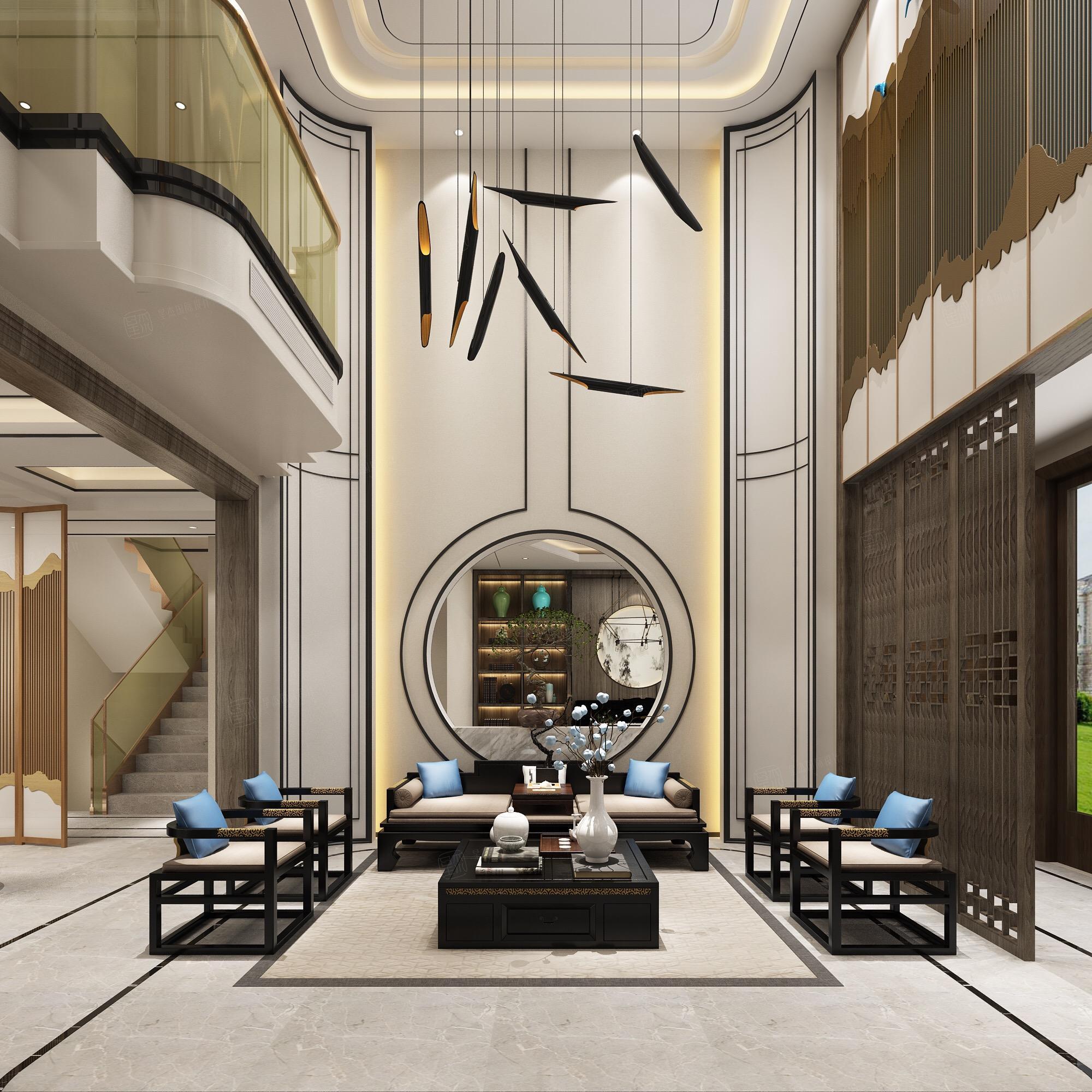 新中式风格-复地温莎堡装修客厅效果图