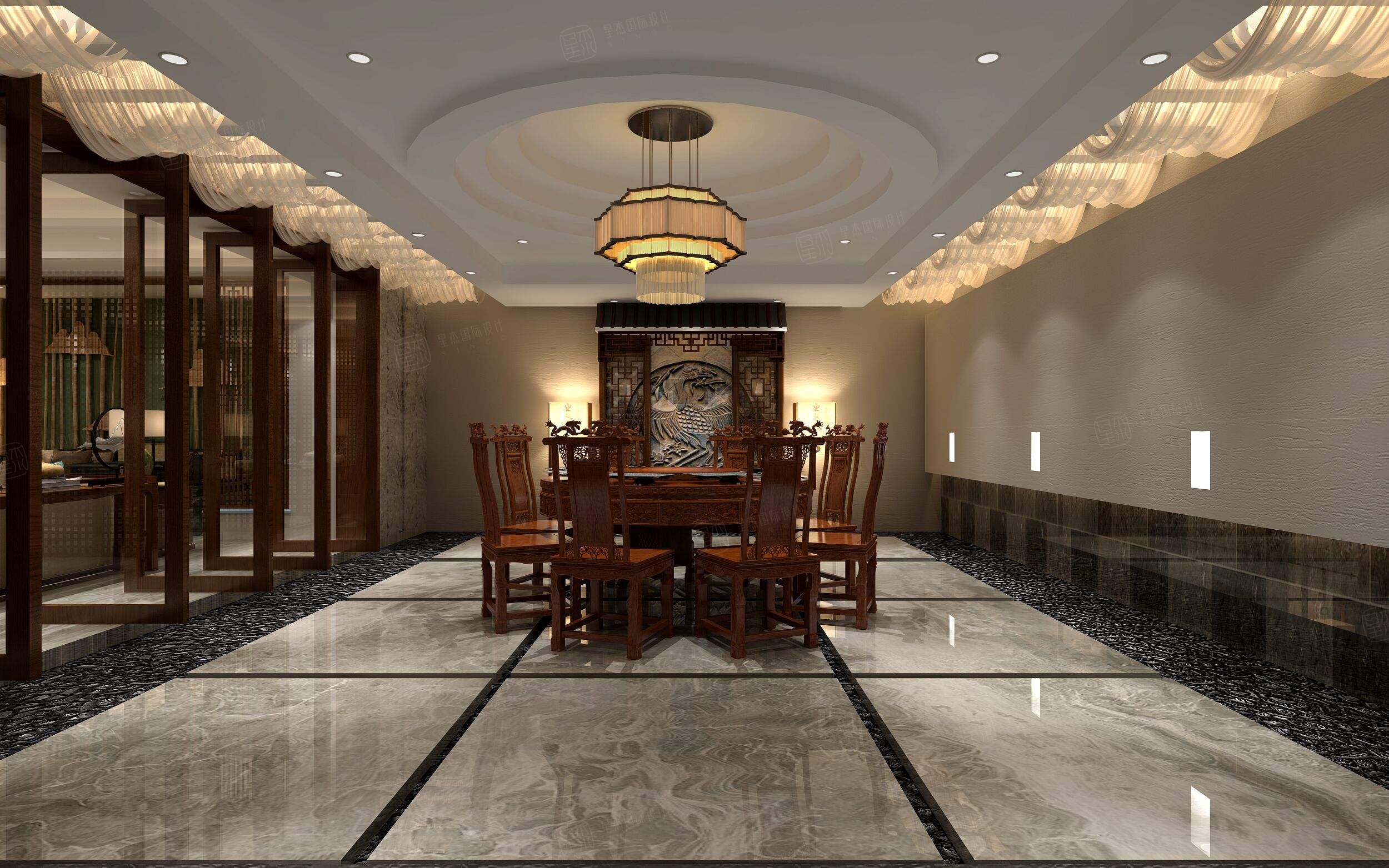 中星红庐 新中式装修餐厅效果图