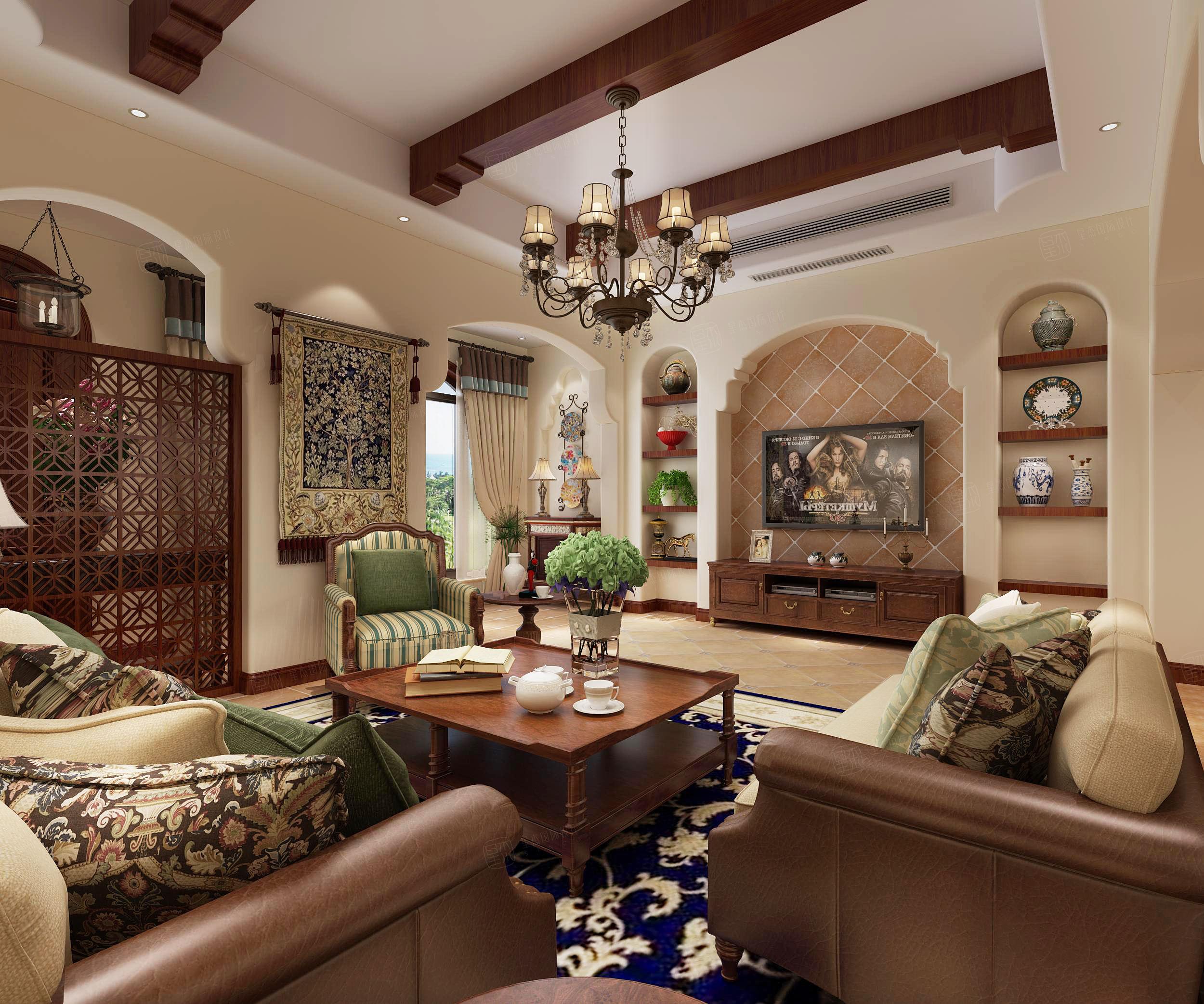 达安圣巴巴 地中海装修客厅效果图