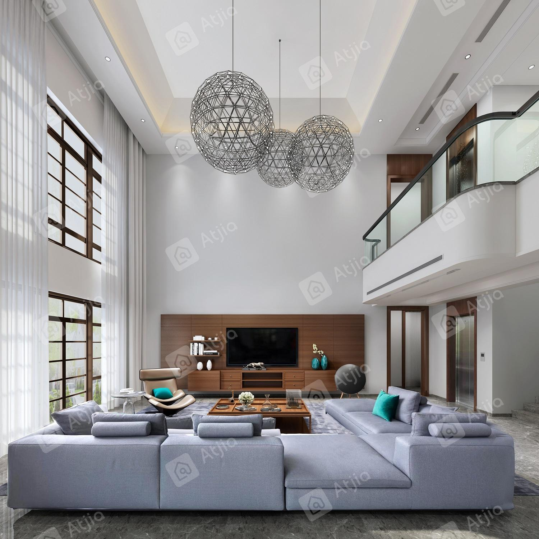国宾一号——现代极简装修客厅效果图