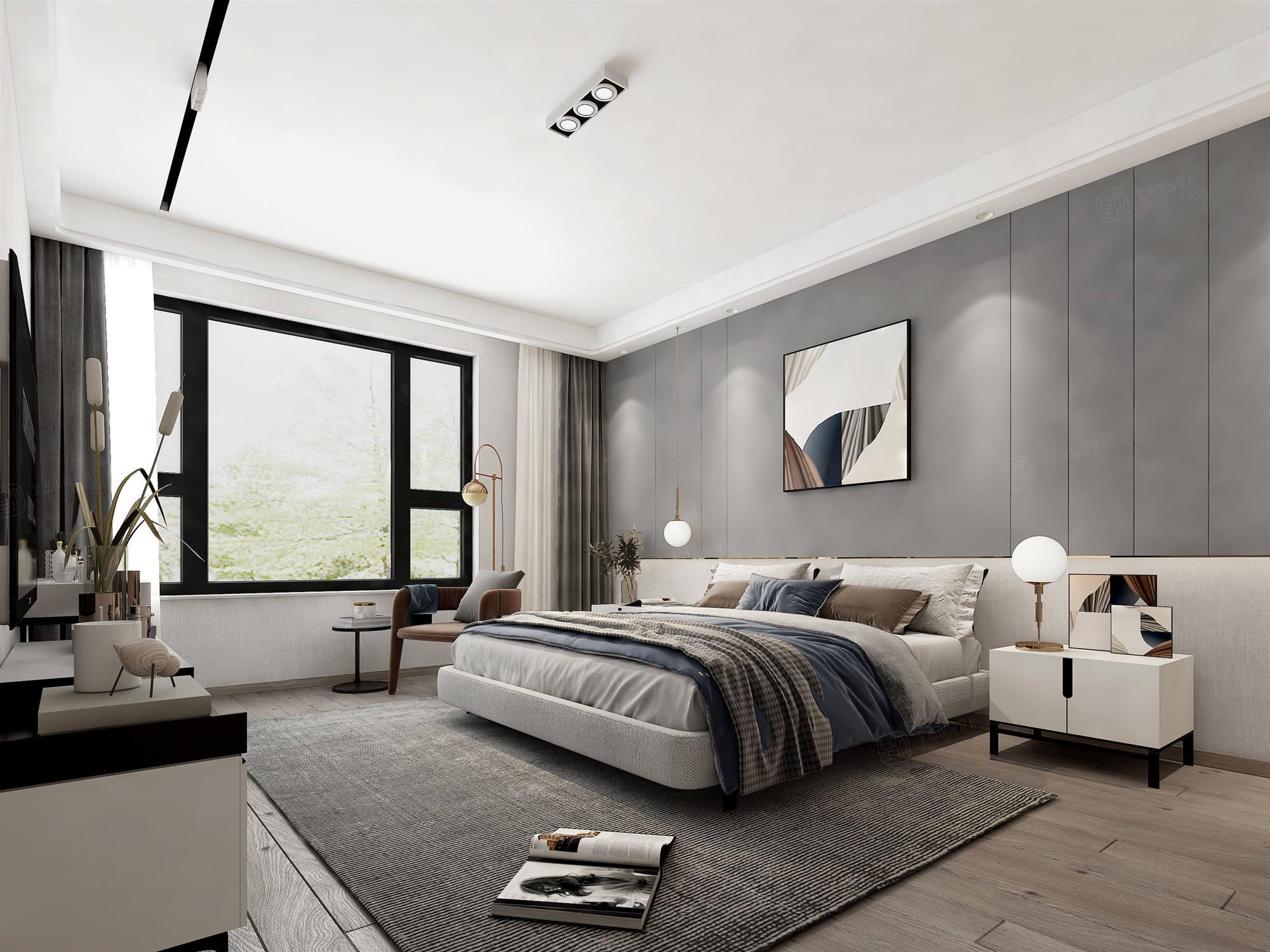 汤臣豪庭  现代风格装修卧室效果图