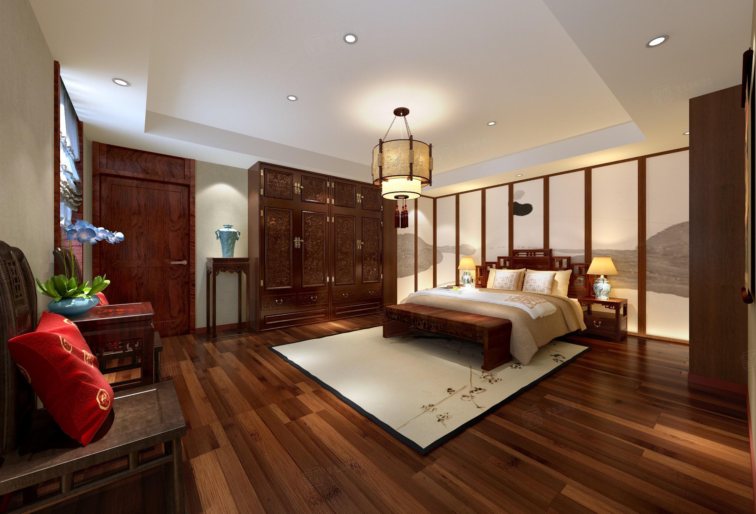 苏州绿城桃花源 中式装修卧室效果图
