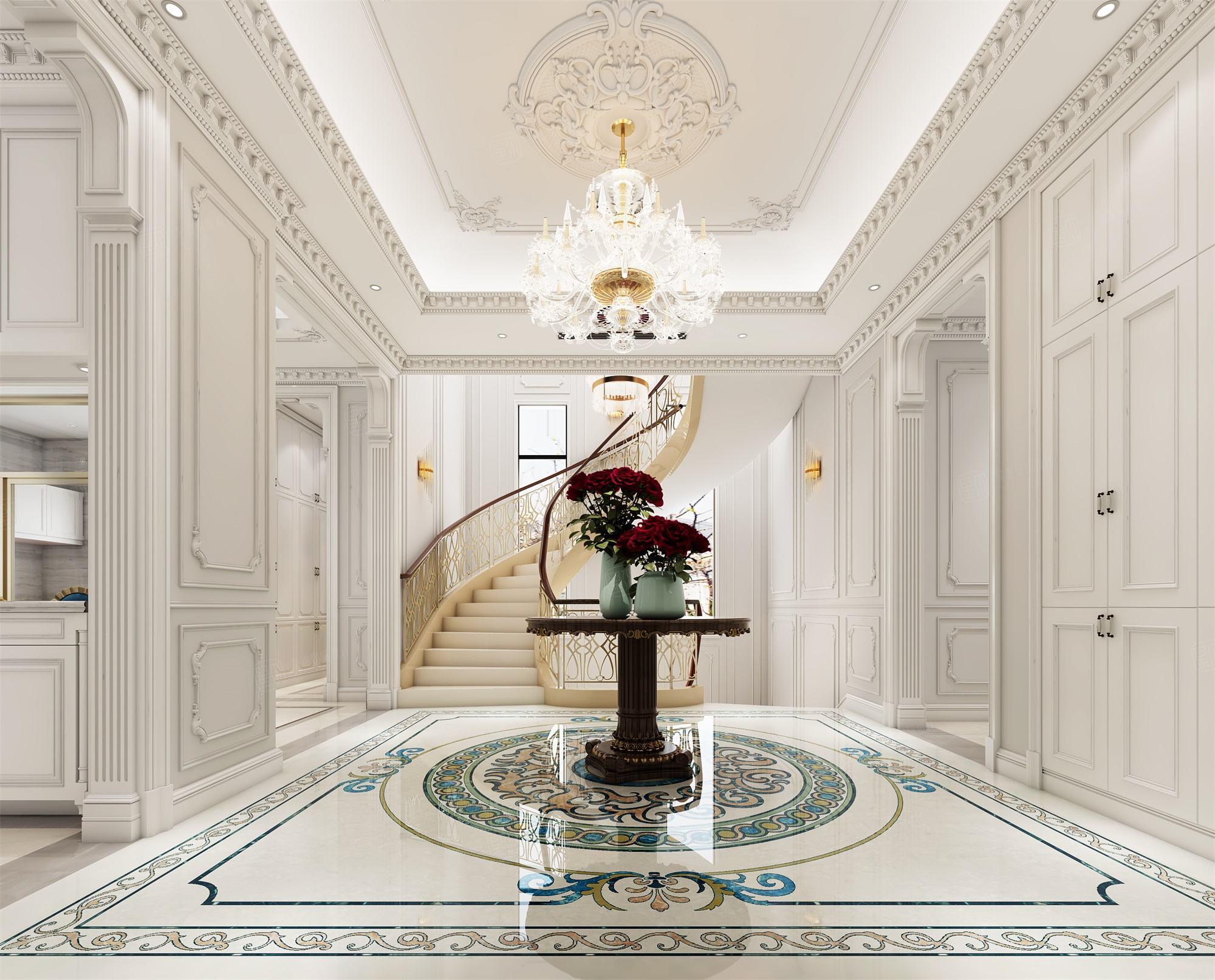 六合别墅  法式装修门厅效果图