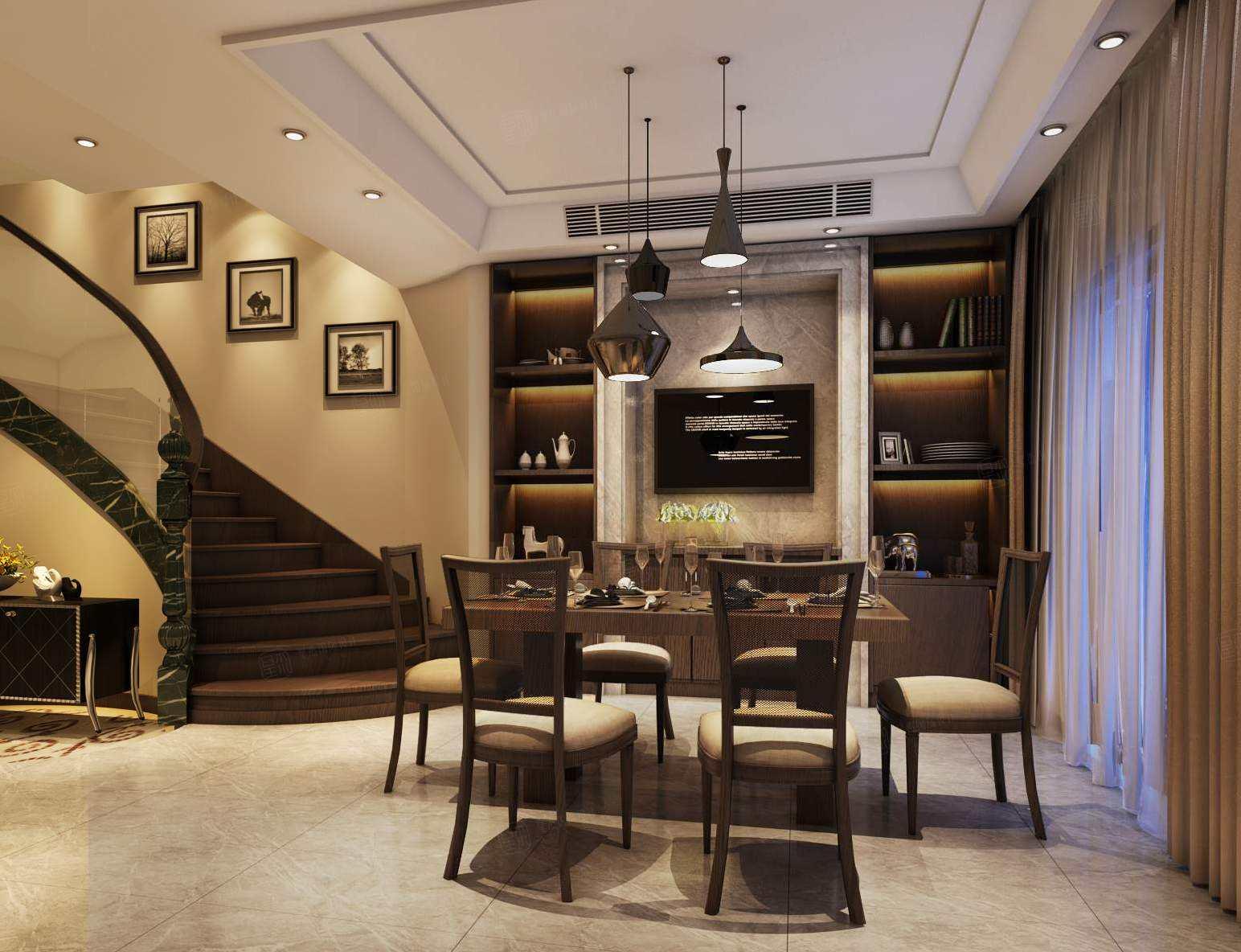 两河流域 现代简约装修餐厅效果图