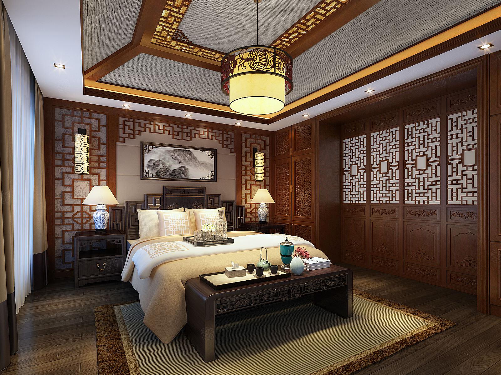 景瑞望府 中式装修卧室效果图