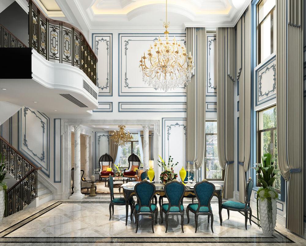 法式风格-依水和墅装修餐厅效果图