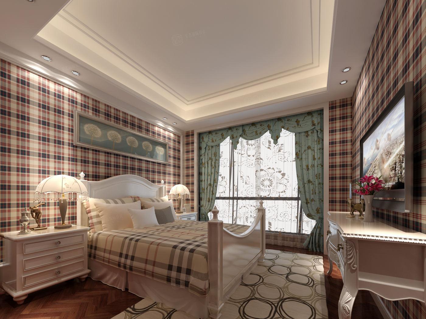 长岛花园 现代简约装修卧室效果图
