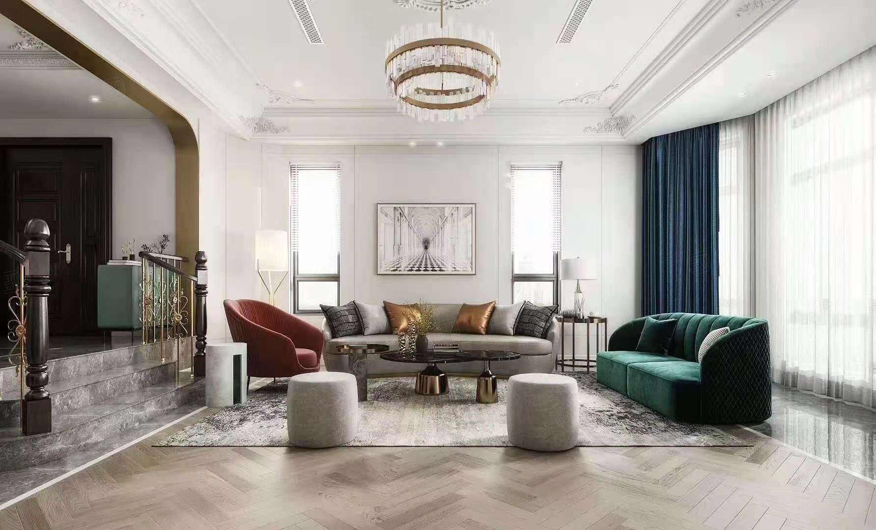 虹桥金斯花园   法式轻奢装修客厅效果图