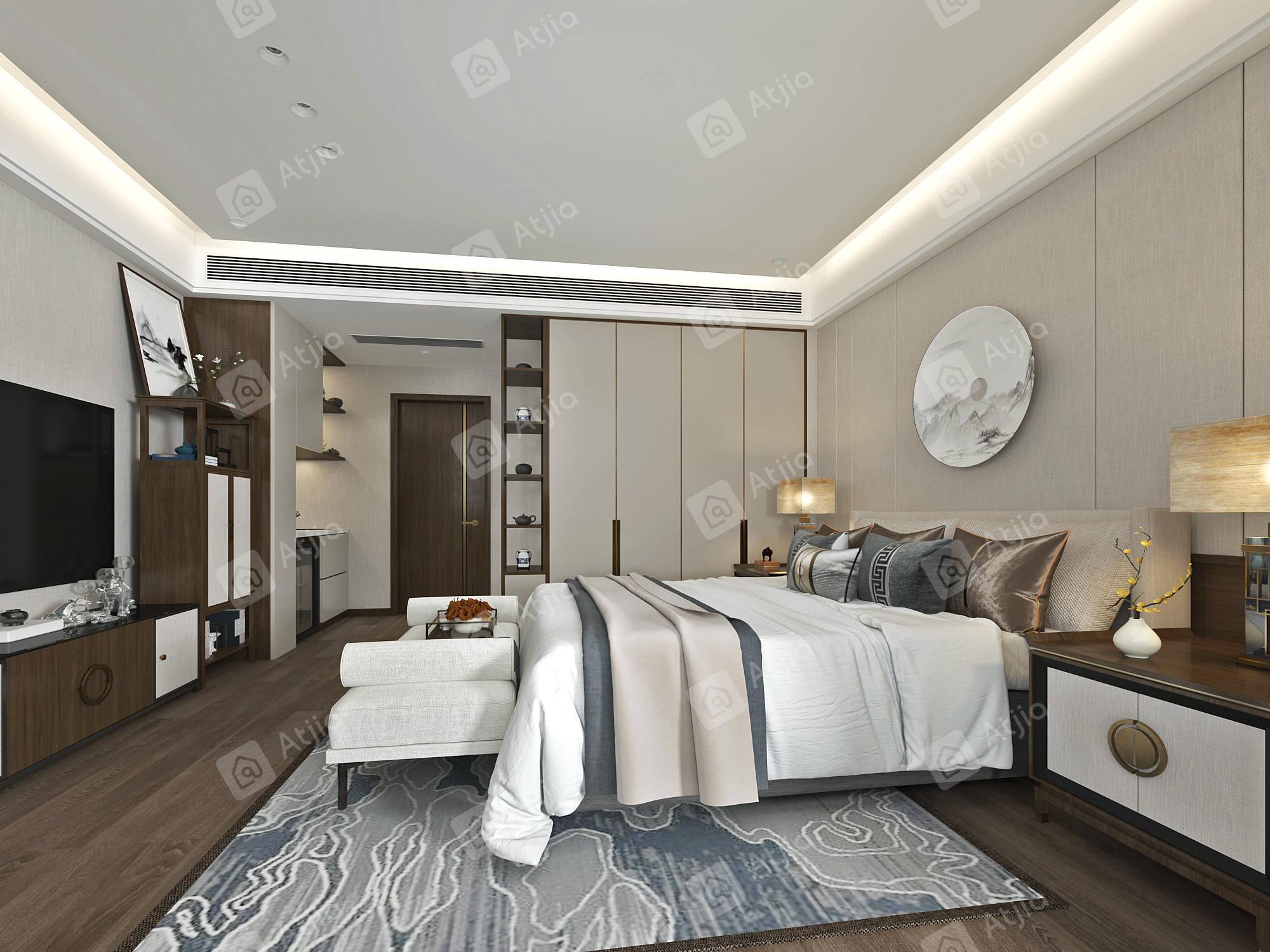 蓝色城邦   新中式装修卧室效果图