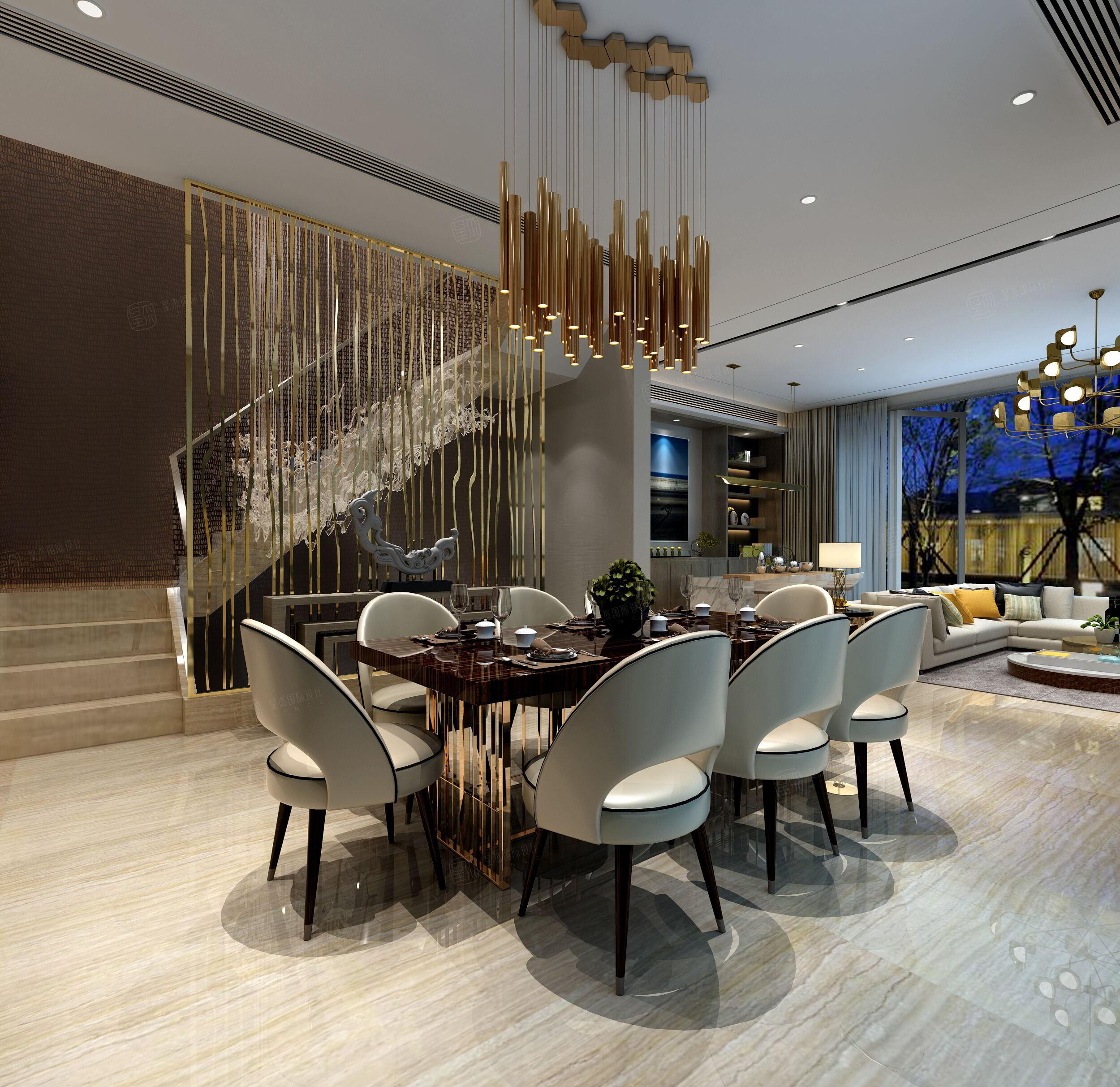 英庭名墅 现代简约装修餐厅效果图