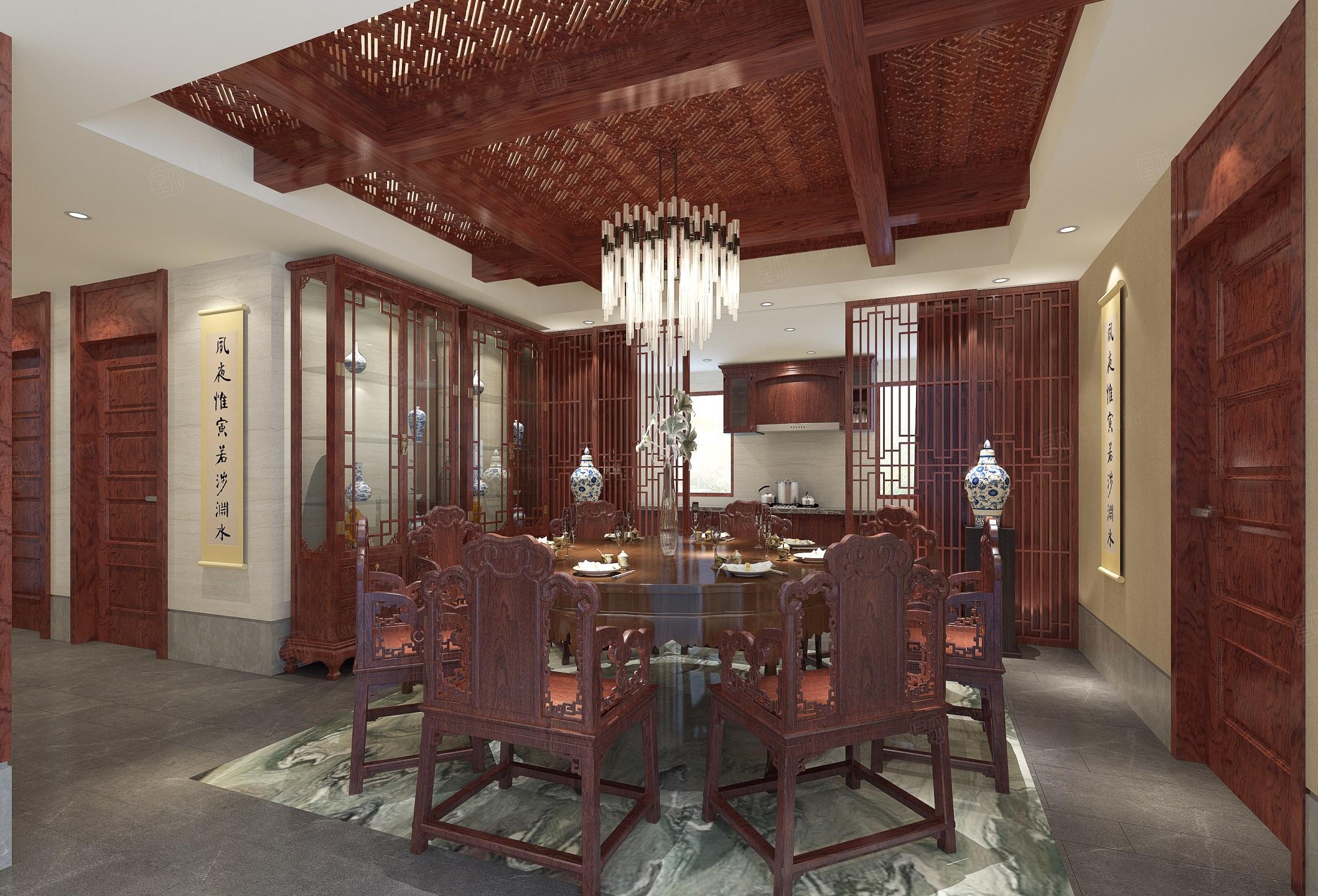 苏州绿城桃花源 中式装修餐厅效果图