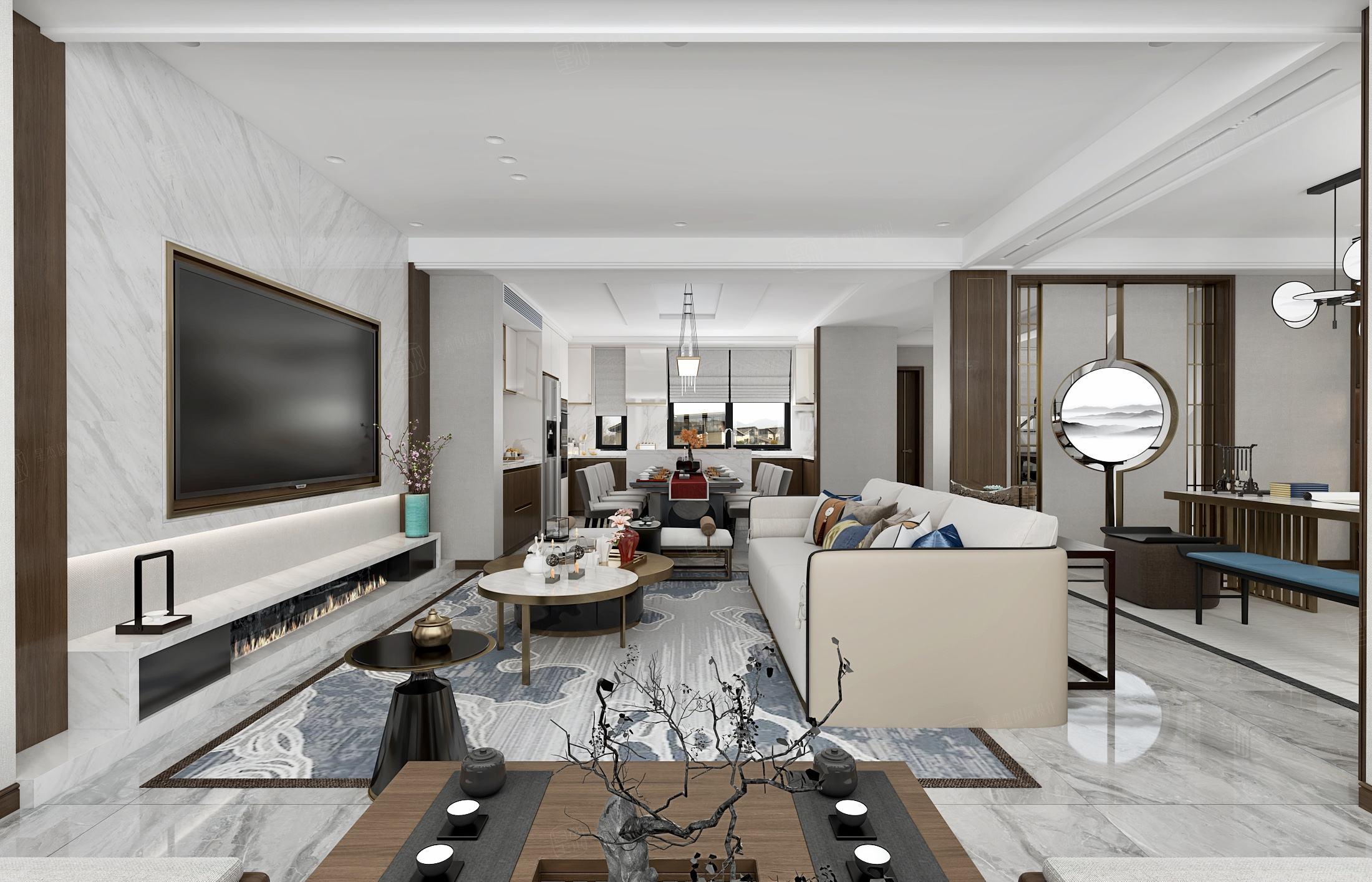 蓝色城邦   新中式装修客厅效果图