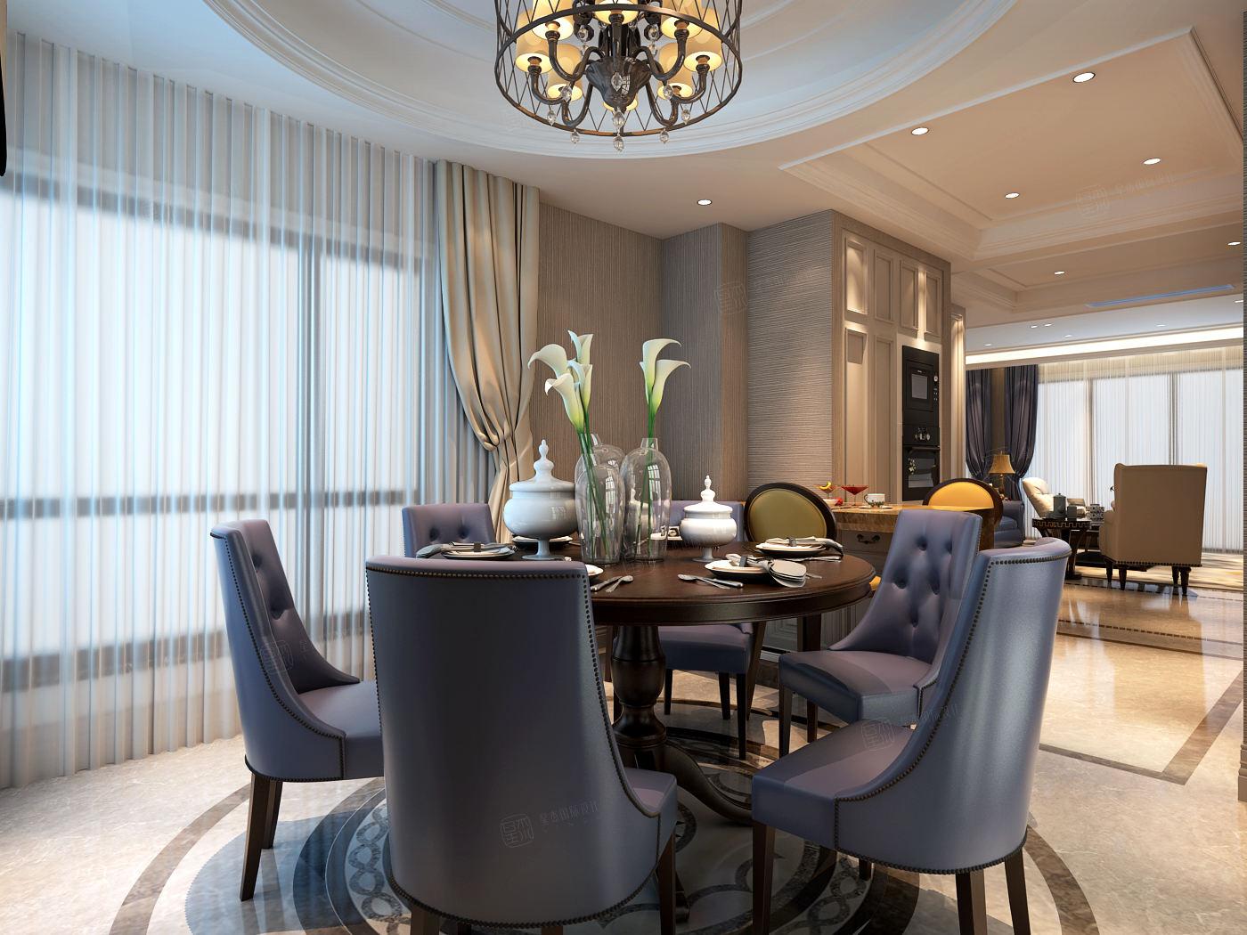 尚海郦景 美式风格装修客厅效果图