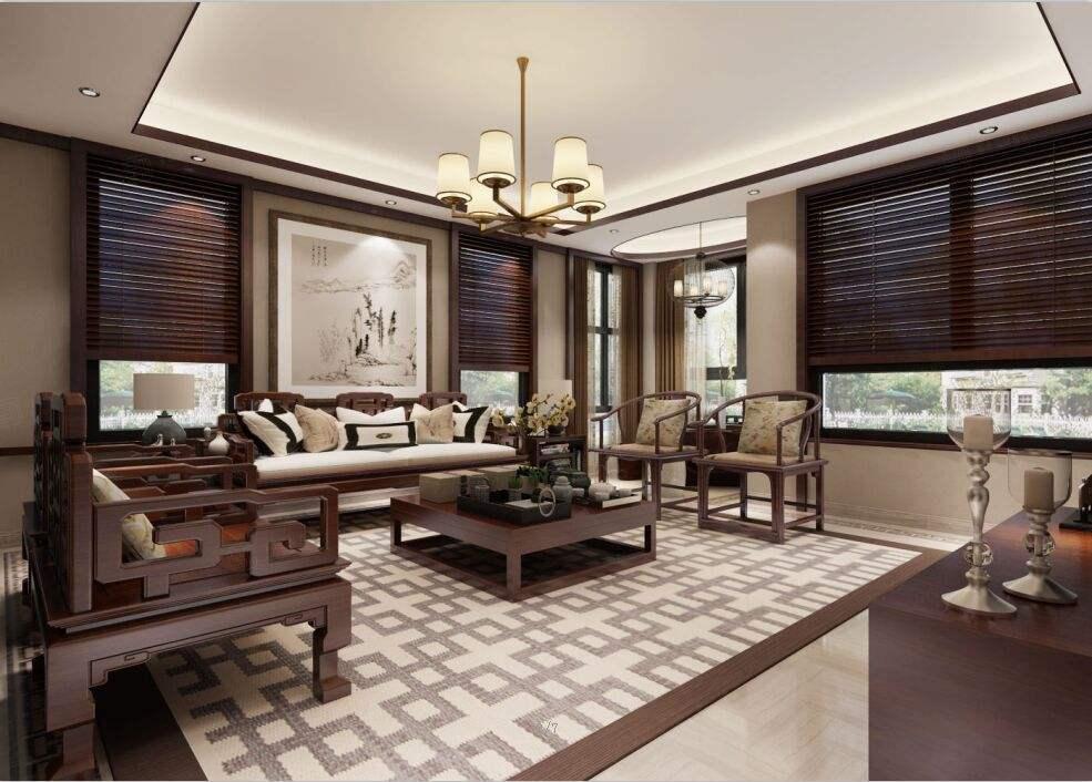绿川新苑 中式装修客厅效果图