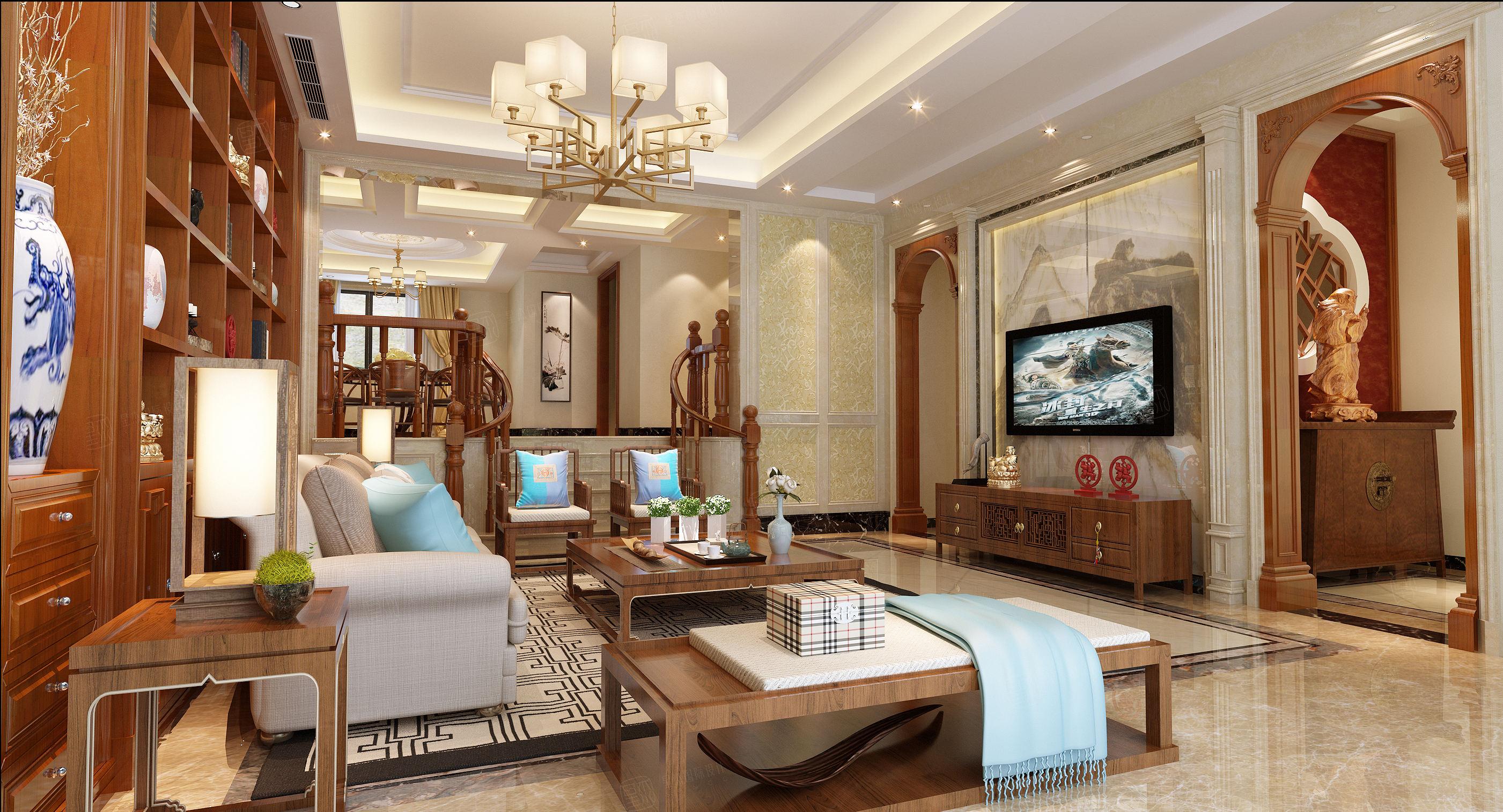 宁波案例库  望湖府邸  中式混搭装修客厅效果图
