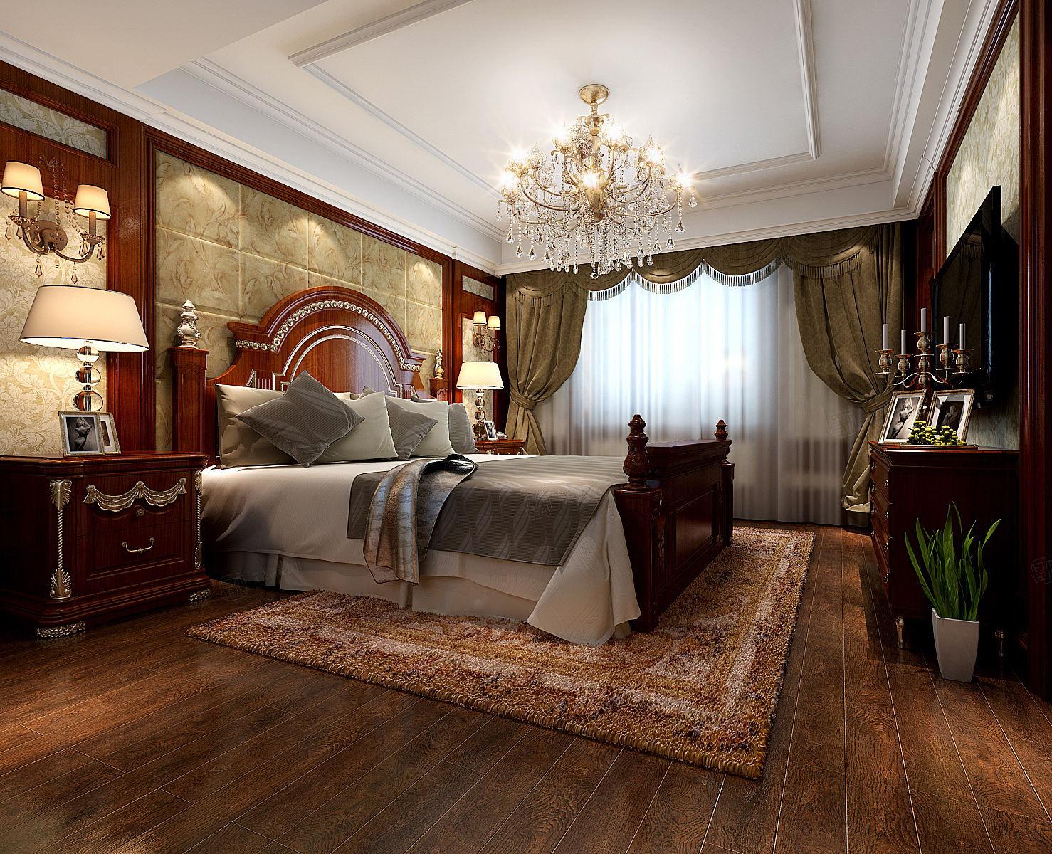 万红苑 美式装修卧室效果图