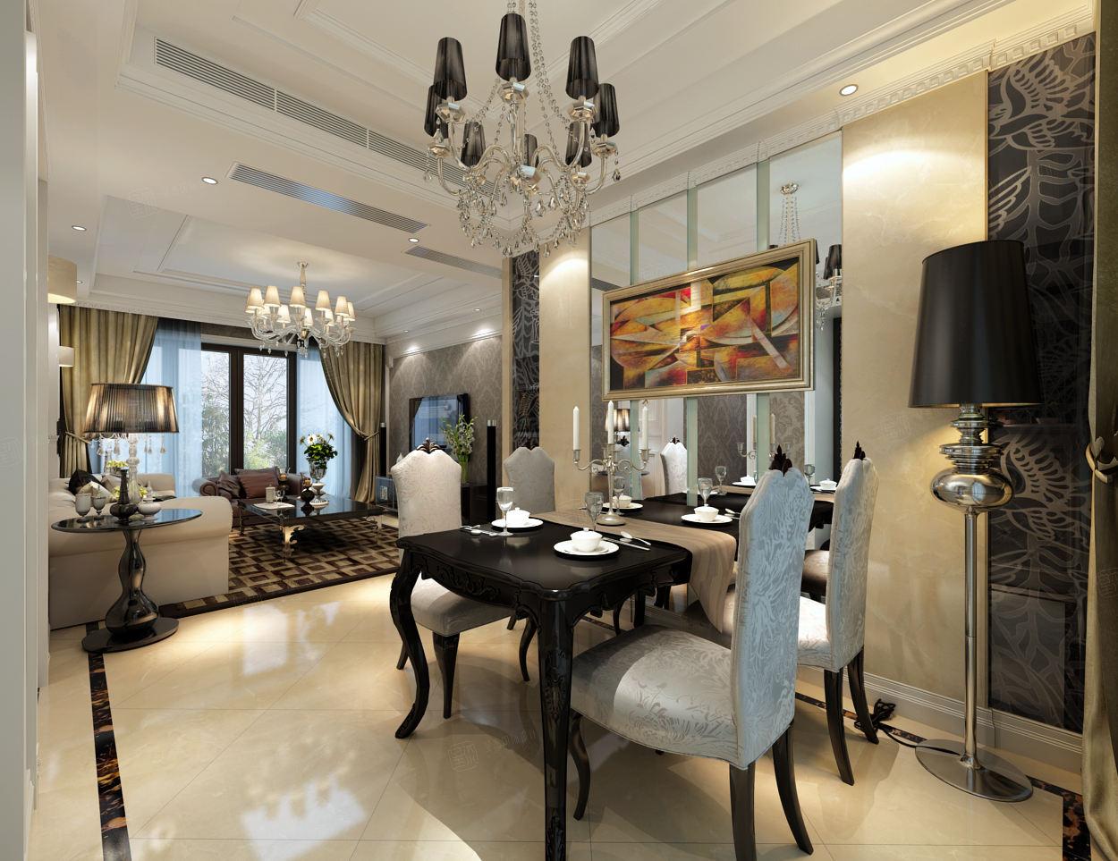 宝华现代城 新古典装修餐厅效果图