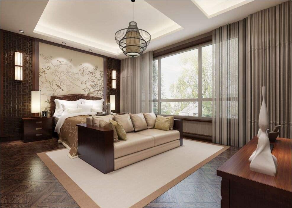 绿川新苑 中式装修卧室效果图