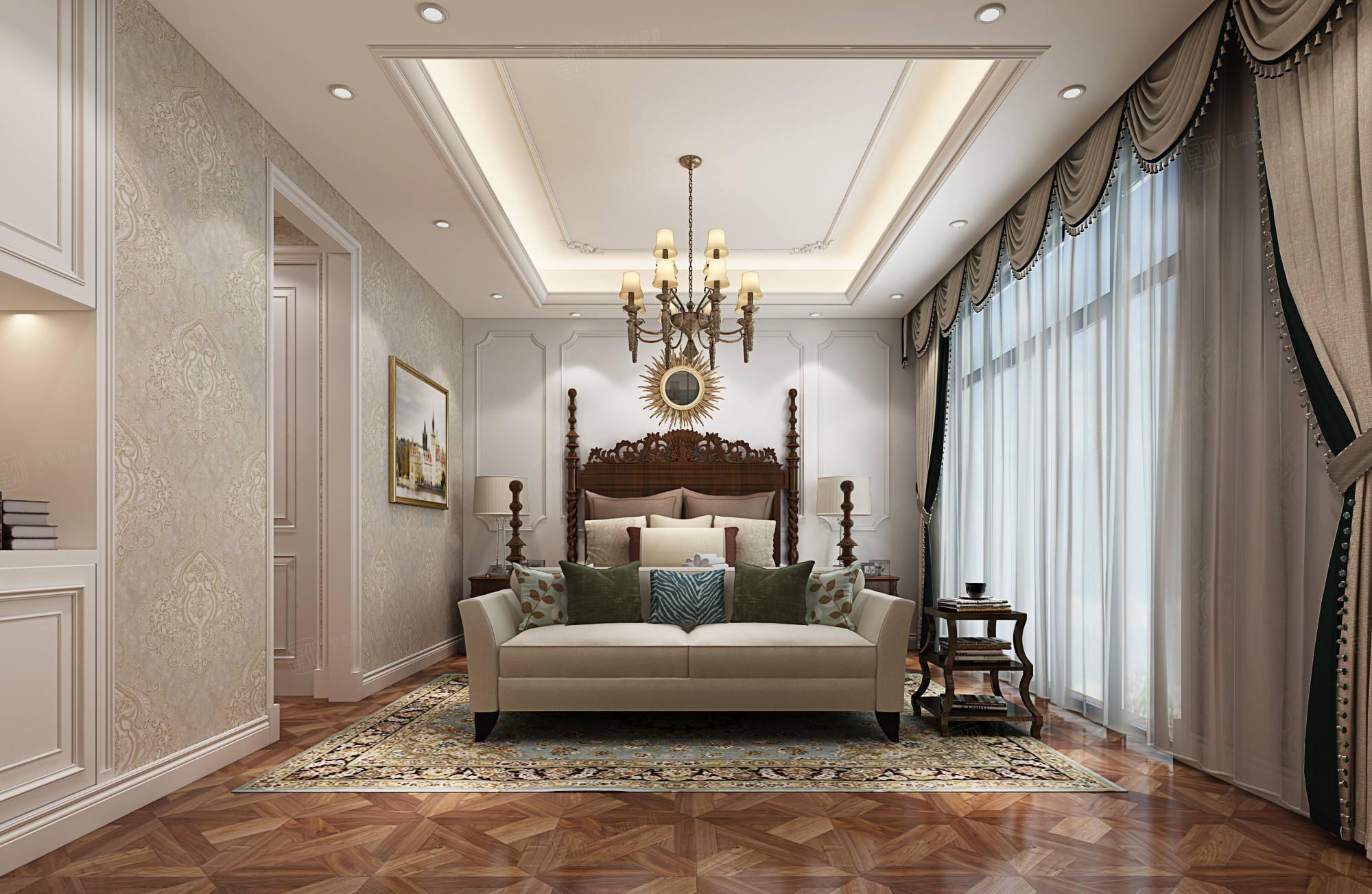 新弘墅园   美式装修卧室效果图