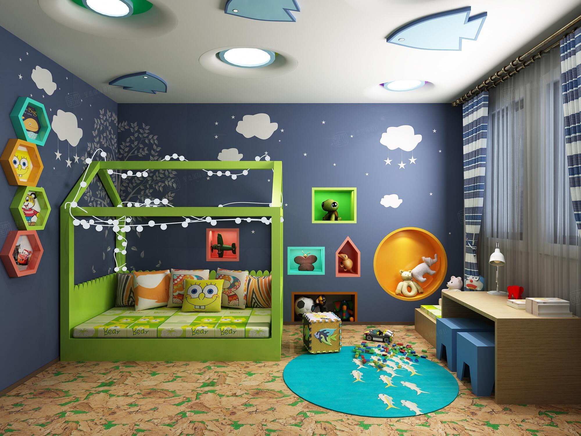 新中式风格-复地温莎堡装修卧室效果图