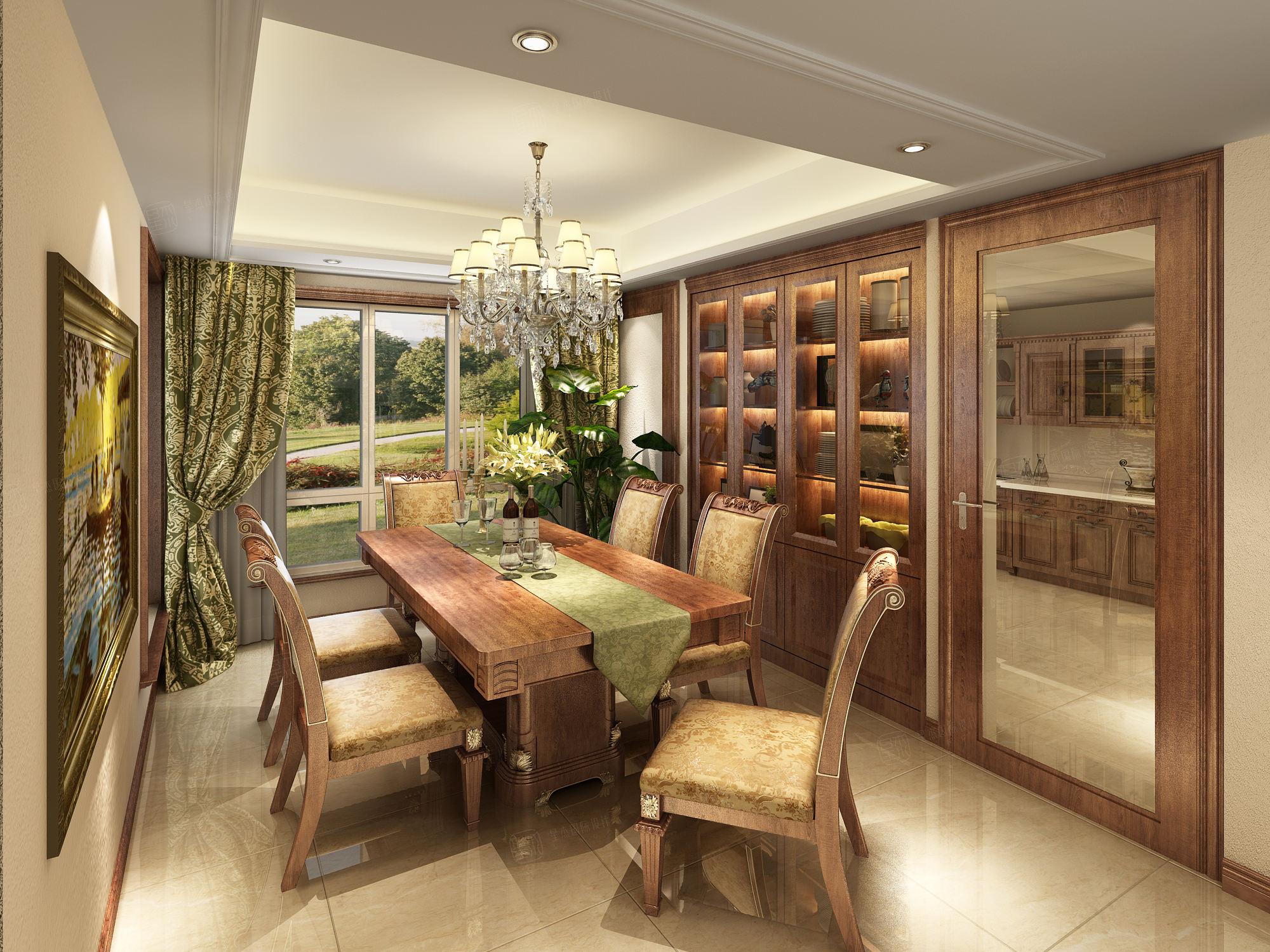 美式_天波城装修餐厅效果图
