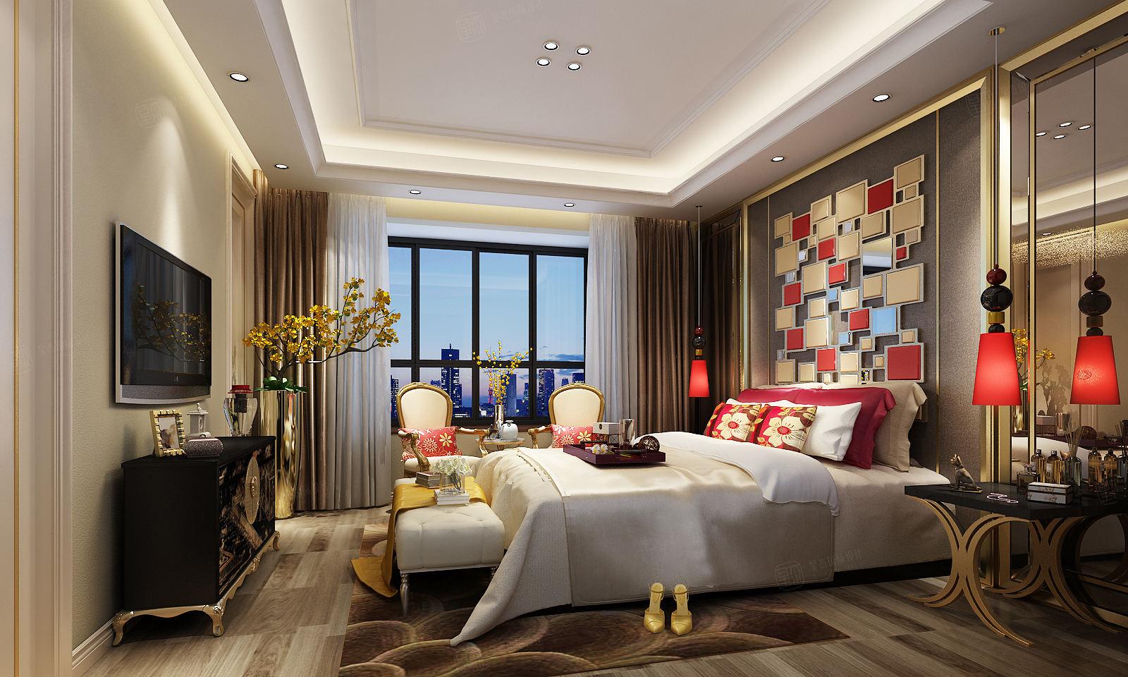 启东上海庄园  混搭装修卧室效果图