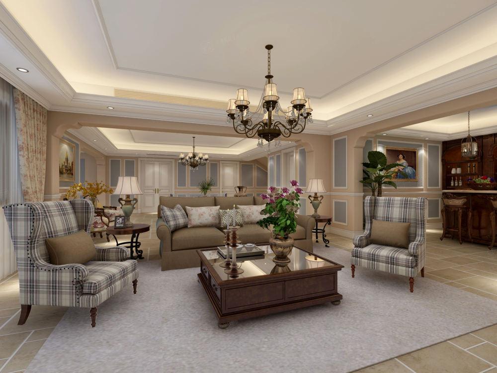 上域逸庭苑 美式装修会客厅效果图