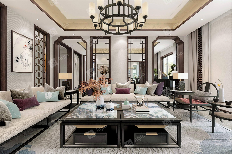 颐湾丽庭   新中式装修客厅效果图