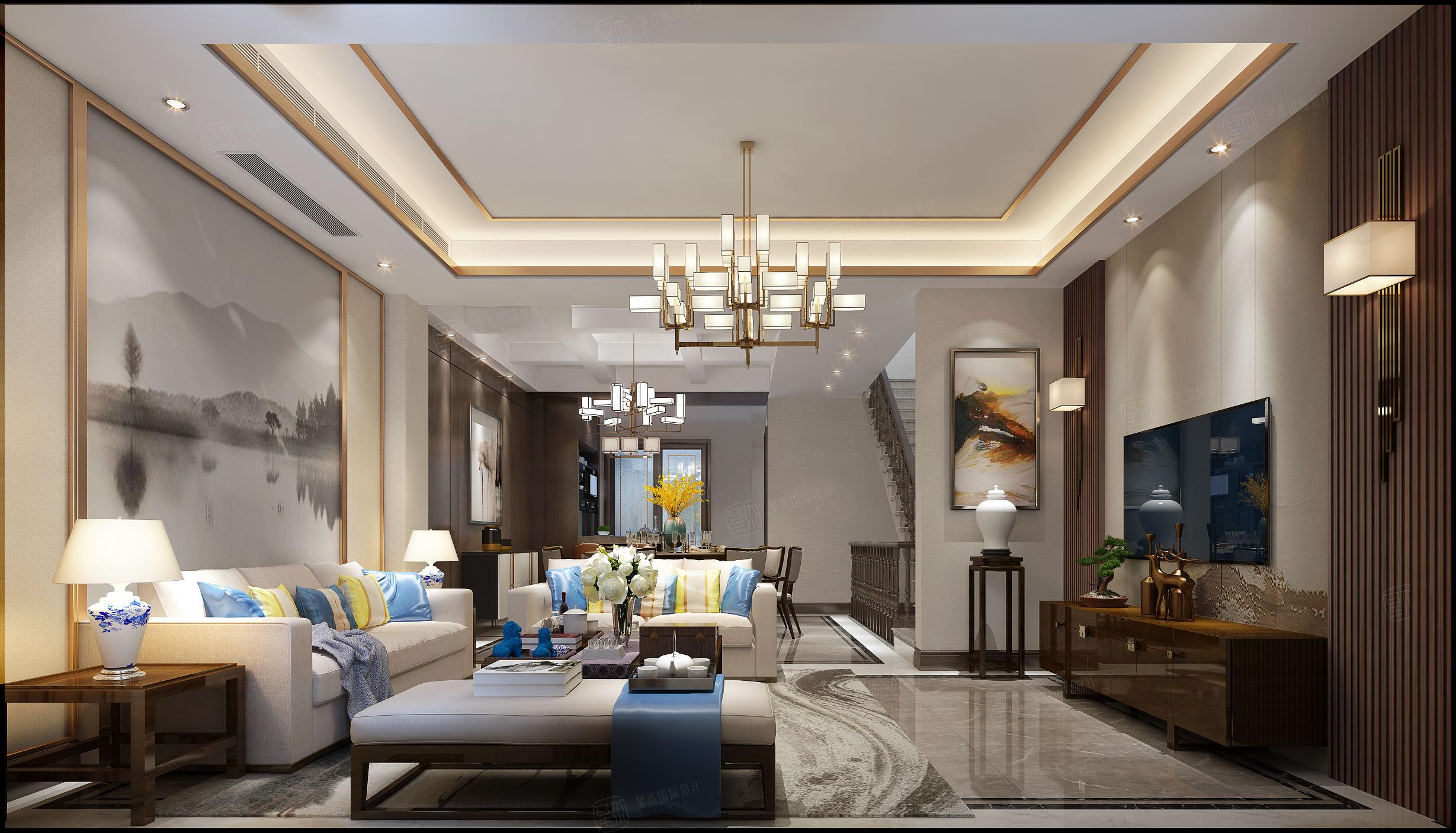 景瑞望府 新中式装修客厅效果图