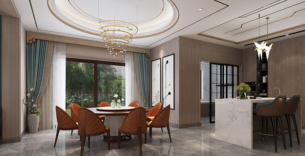 西郊古北佘山国际花园别墅   新中式装修餐厅效果图
