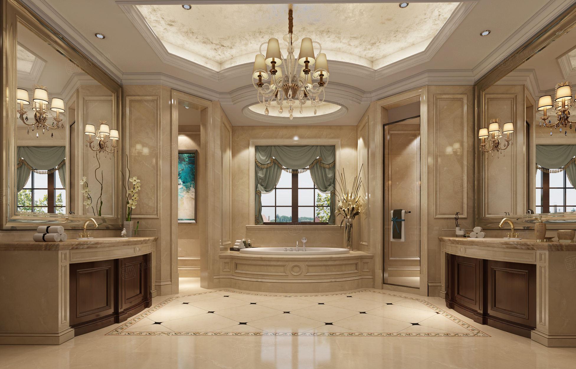 绿城玲珑苑 欧式装修卫生间效果图