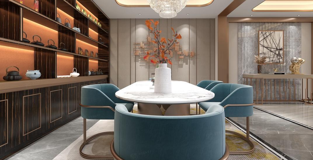 北上海 港式轻奢装修起居室效果图