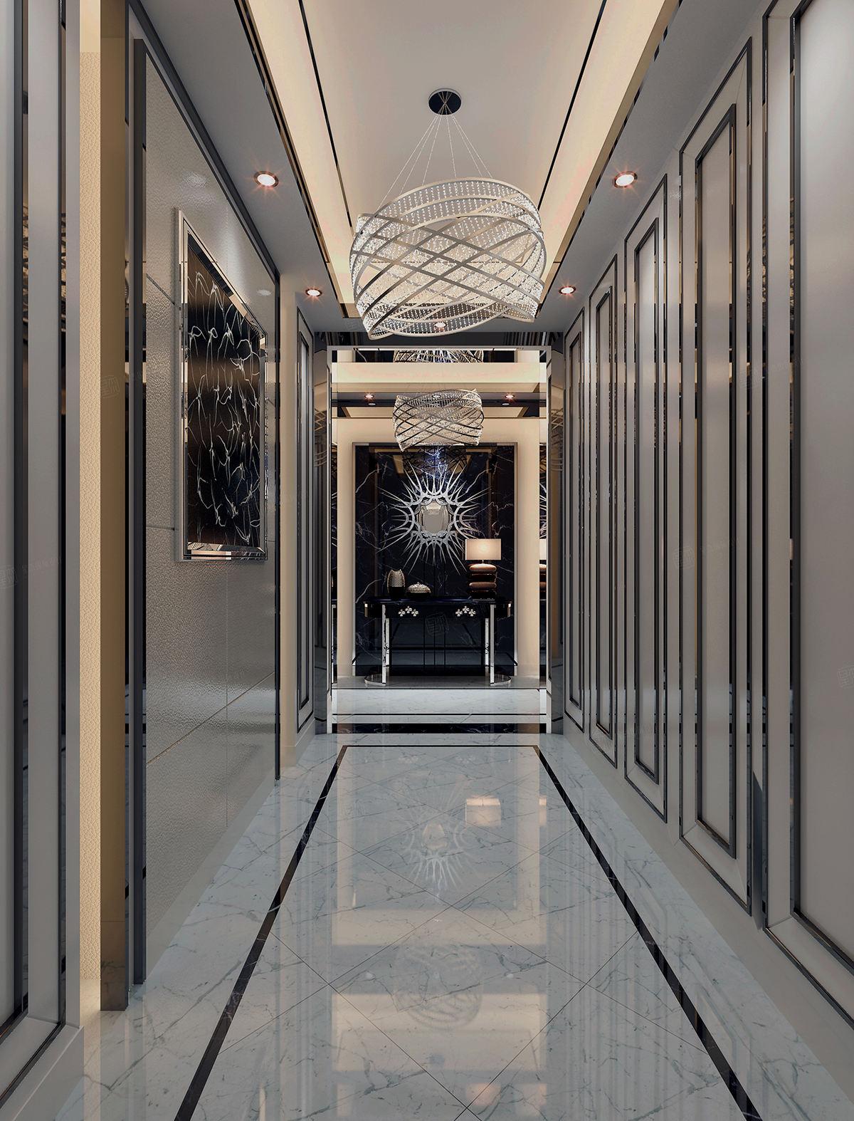 兰乔圣菲庄园 新古典装修门厅效果图