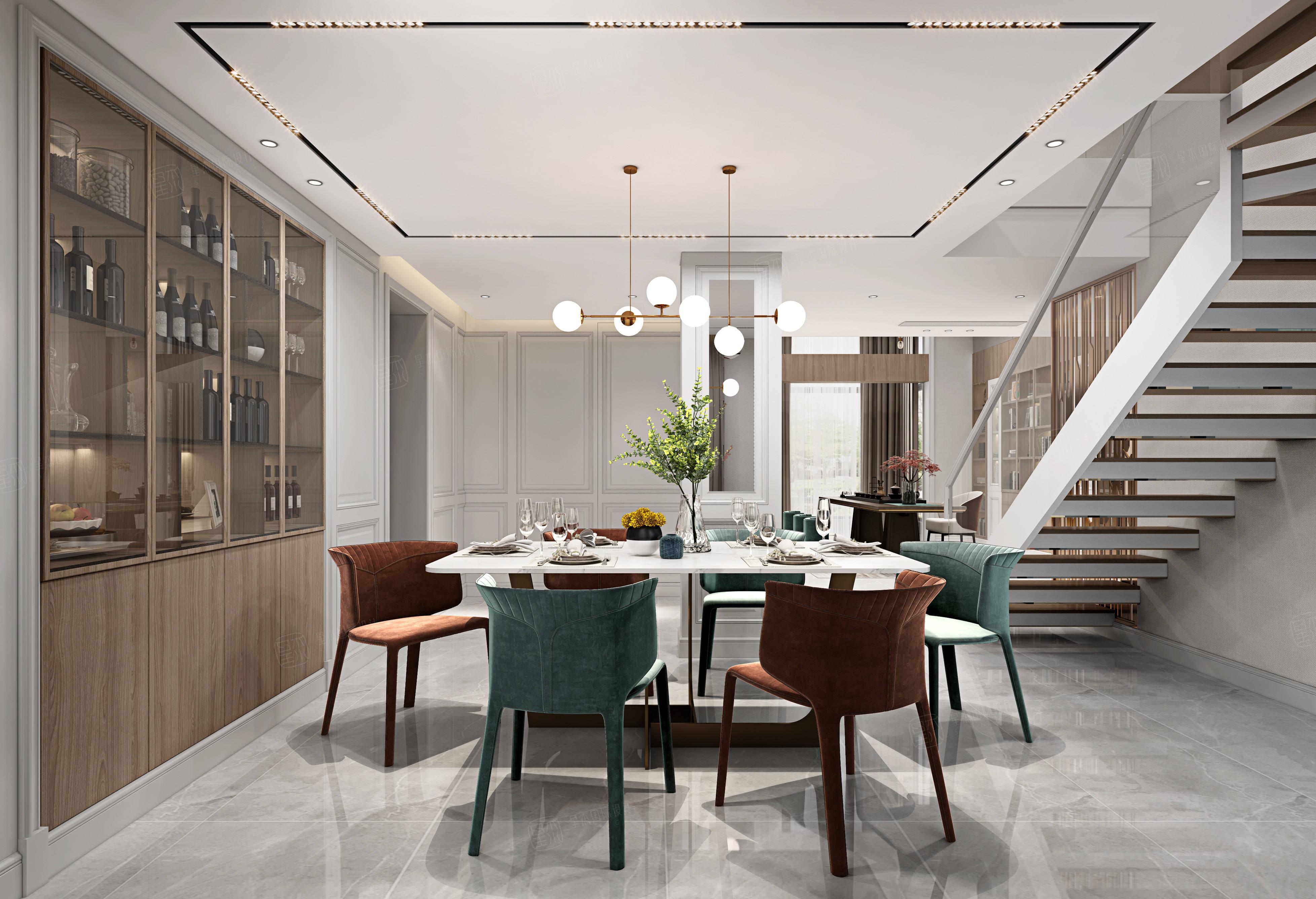 水清木华   现代装修餐厅效果图
