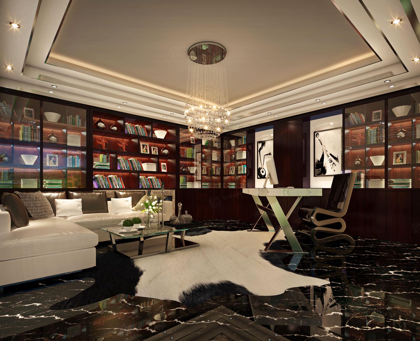 东郊紫园 新中式装修书房效果图