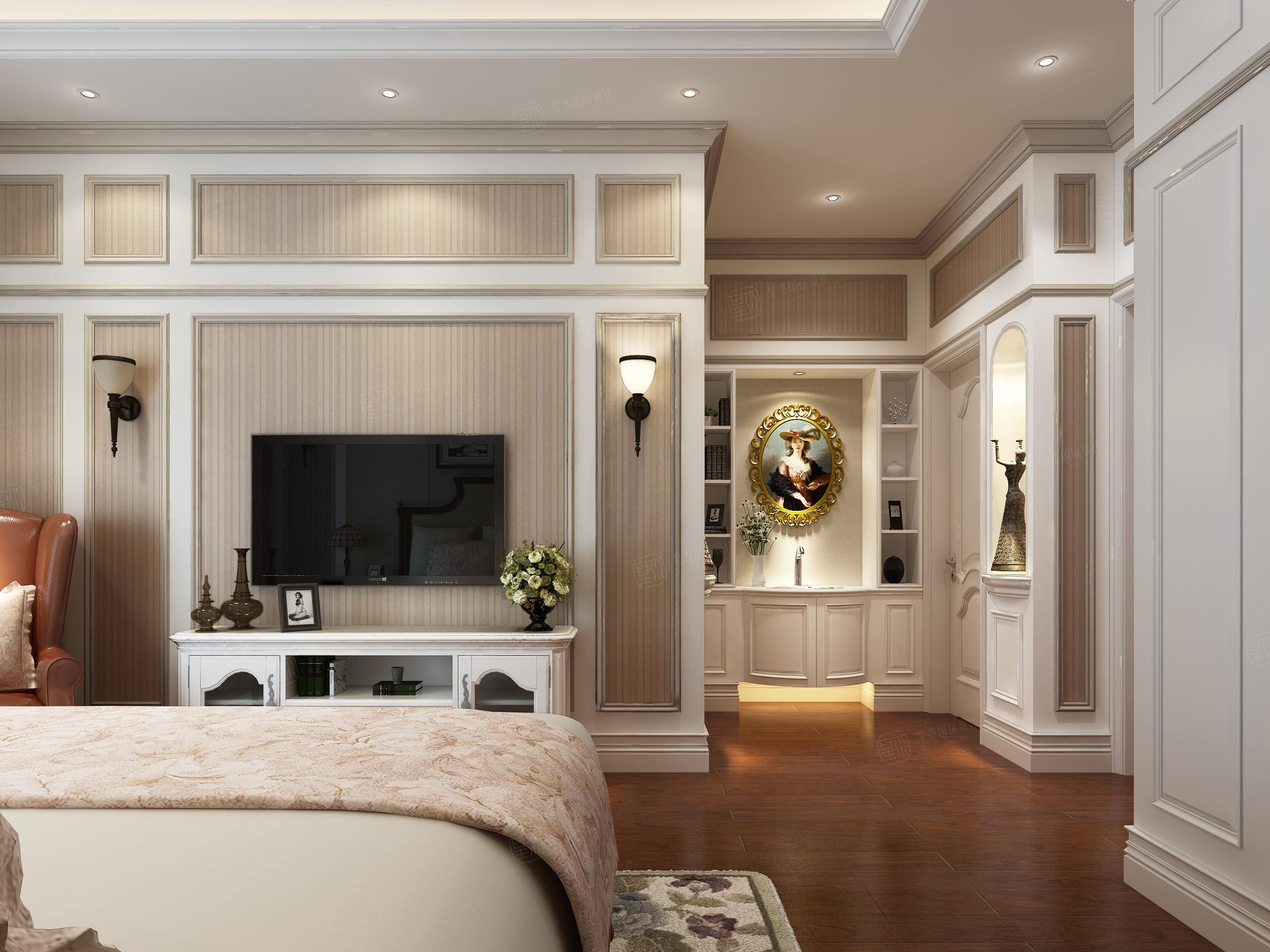六十四阶 美式简欧混搭装修卧室效果图