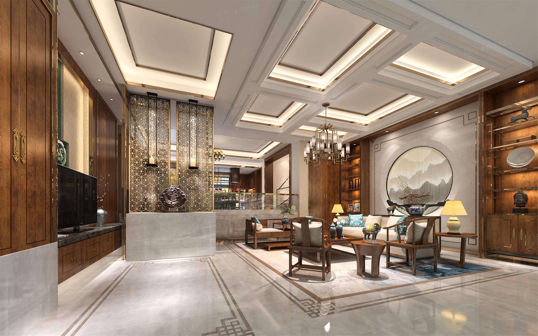 时代香格里拉  新中式装修客厅效果图