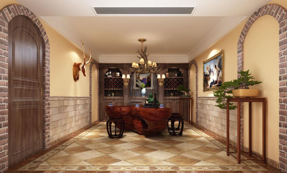 泰馨苑 新中式装修地下室效果图