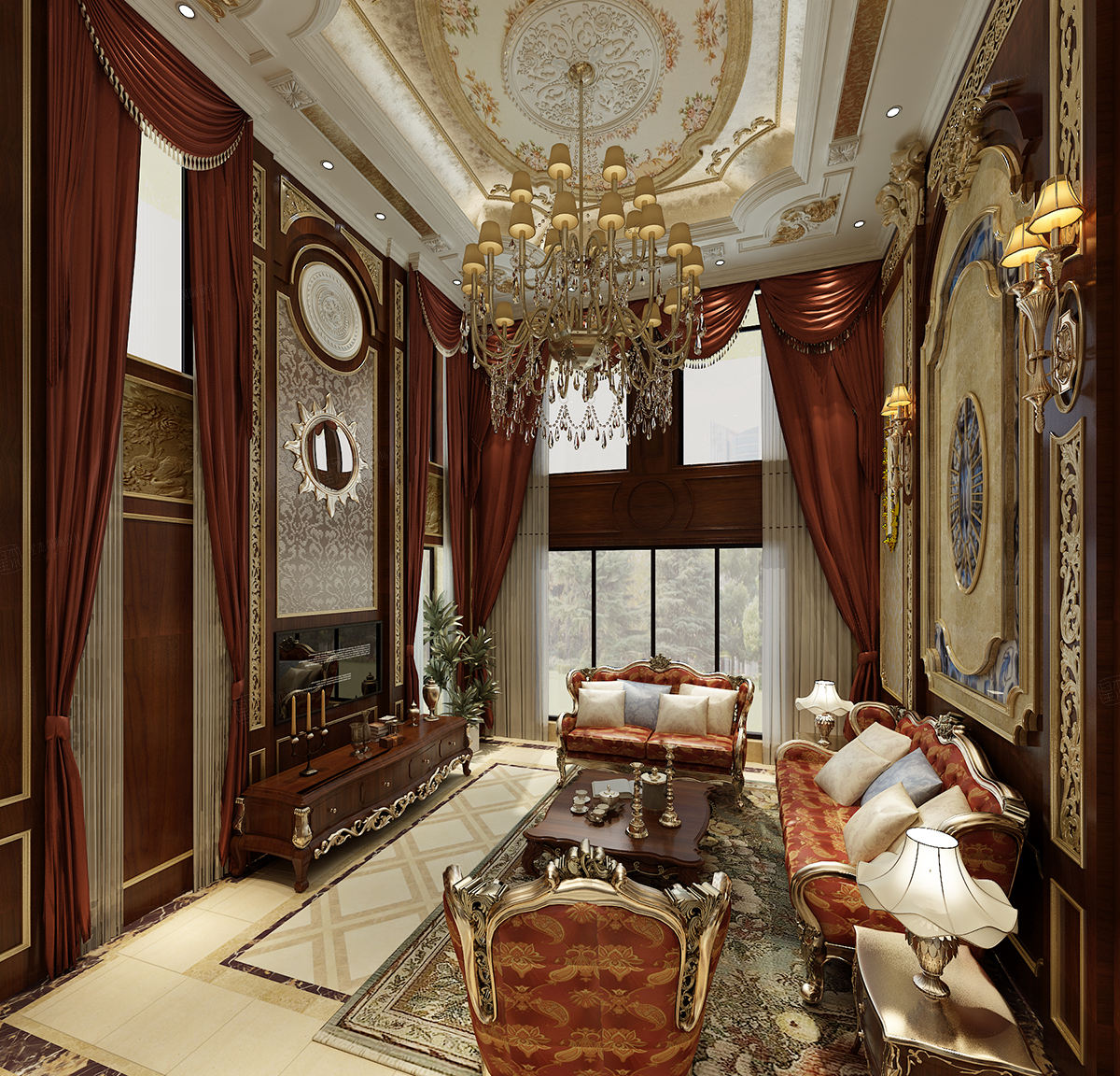 保利叶上海 欧式装修客厅效果图