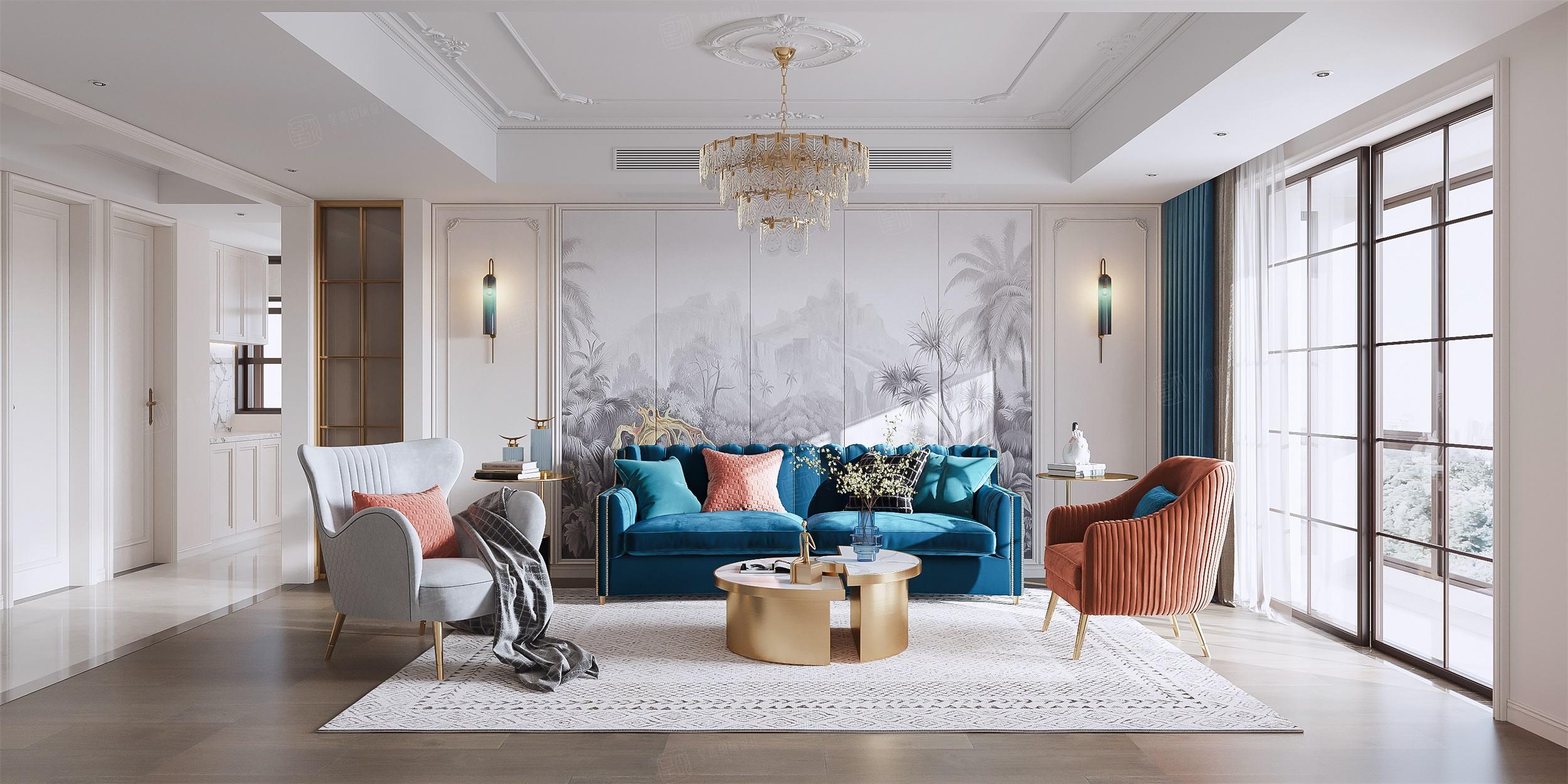 新城花园  法式轻奢装修客厅效果图